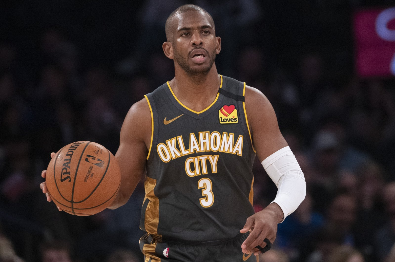 Oklahoma City Thunder's Chris Paul handles the ball during an NBA game against the New York Knicks, in New York City, New York, U.S., March 6, 2020. (AP Photo)