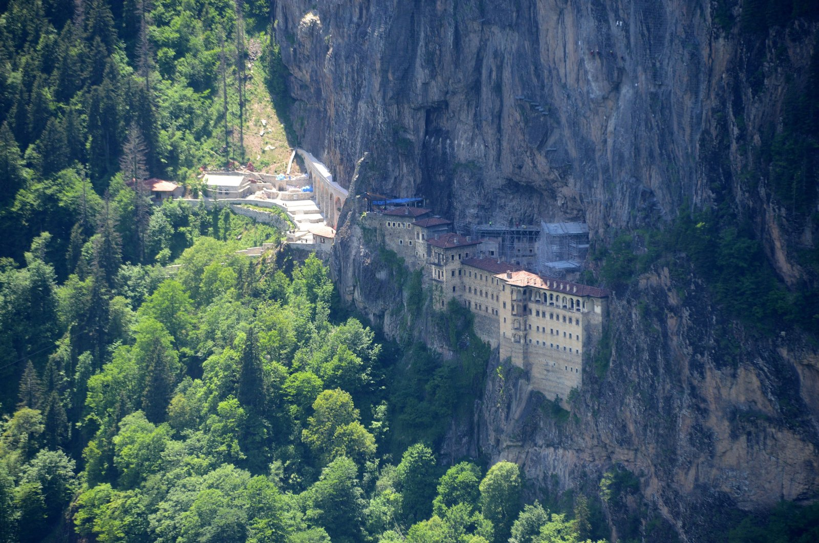 The Sümela Monastery in the Maçka district of northern Trabzon province, Turkey, July 27, 2020. (DHA Photo)