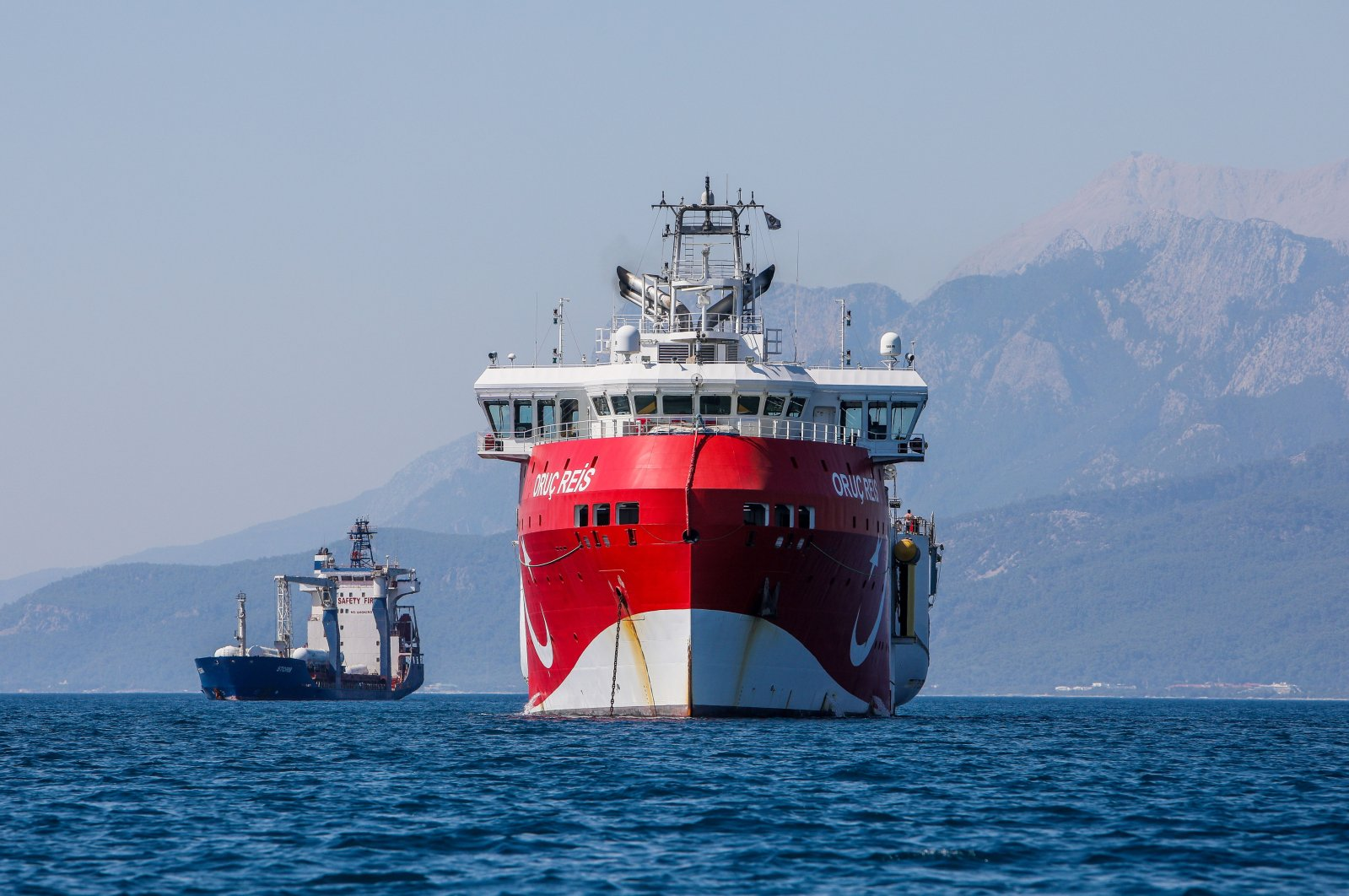 Turkey's seismic exploration vessel Oruç Reis is seen off the shore of Antalya, southwest Turkey, July 24, 2020. (DHA Photo)