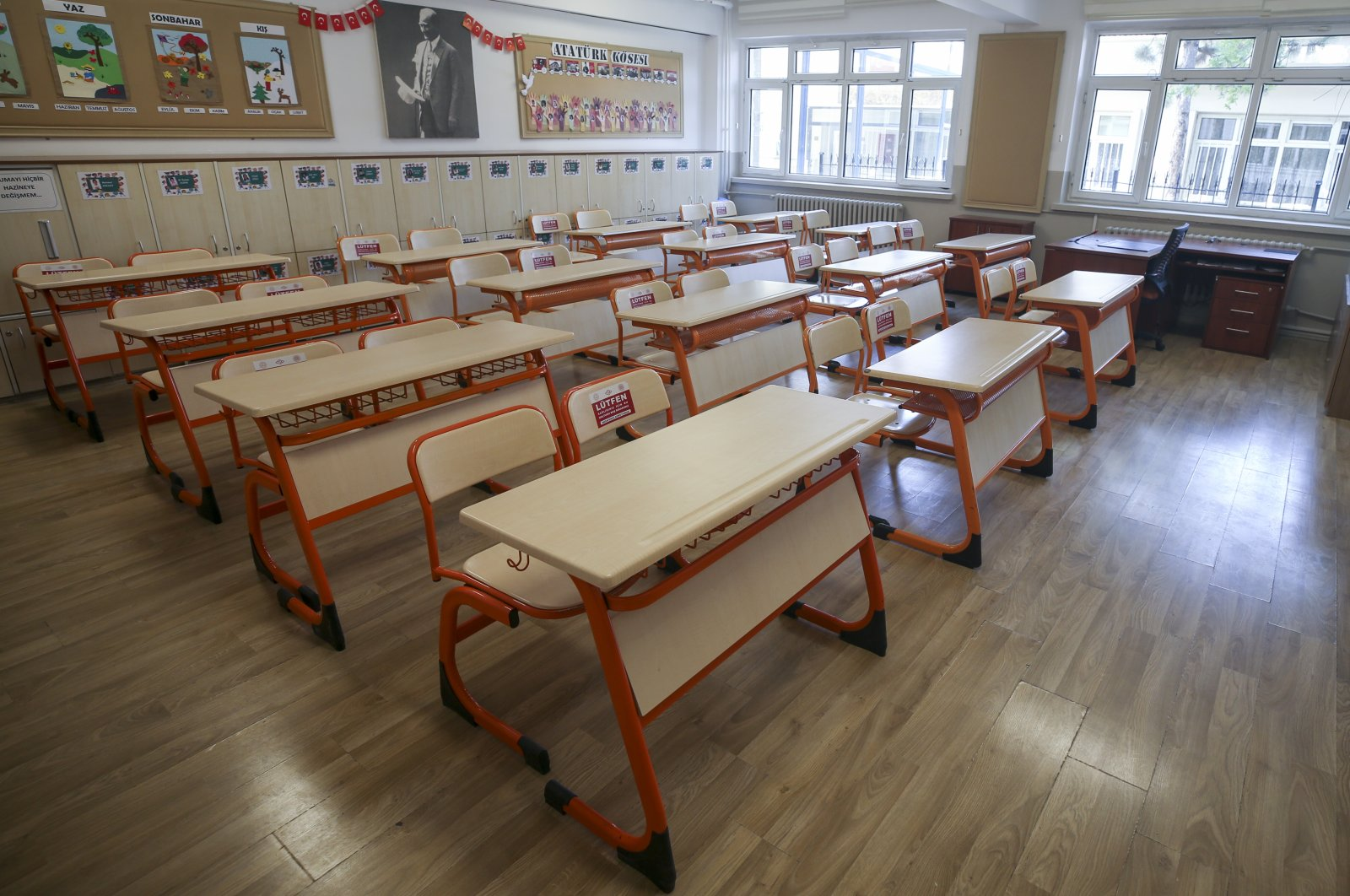 A classroom at the Çankaya Elementary School in the capital Ankara, Turkey, July 27, 2020. (AA Photo)