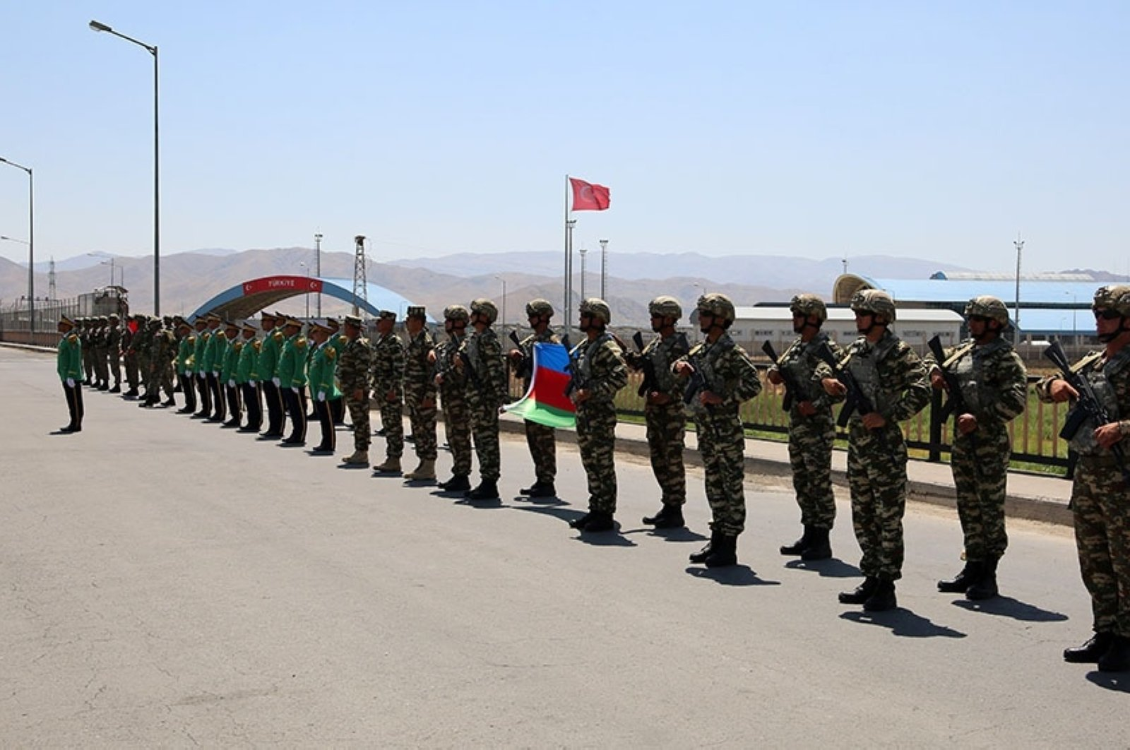 Turkish soldiers arriving for the large-scale joint military exercises with Azerbaijan are welcomed in a ceremony in Nakhchivan, in the Nakhchivan Autonomous Republic of Azerbaijan, July 27, 2020. (AA Photo)