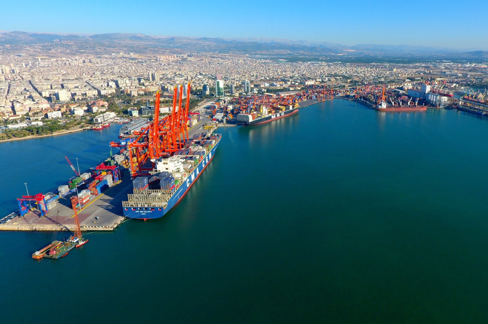 An aerial view of the Port of Mersin on Turkey's Mediterranean coast, July 20, 2019. (IHA Photo)
