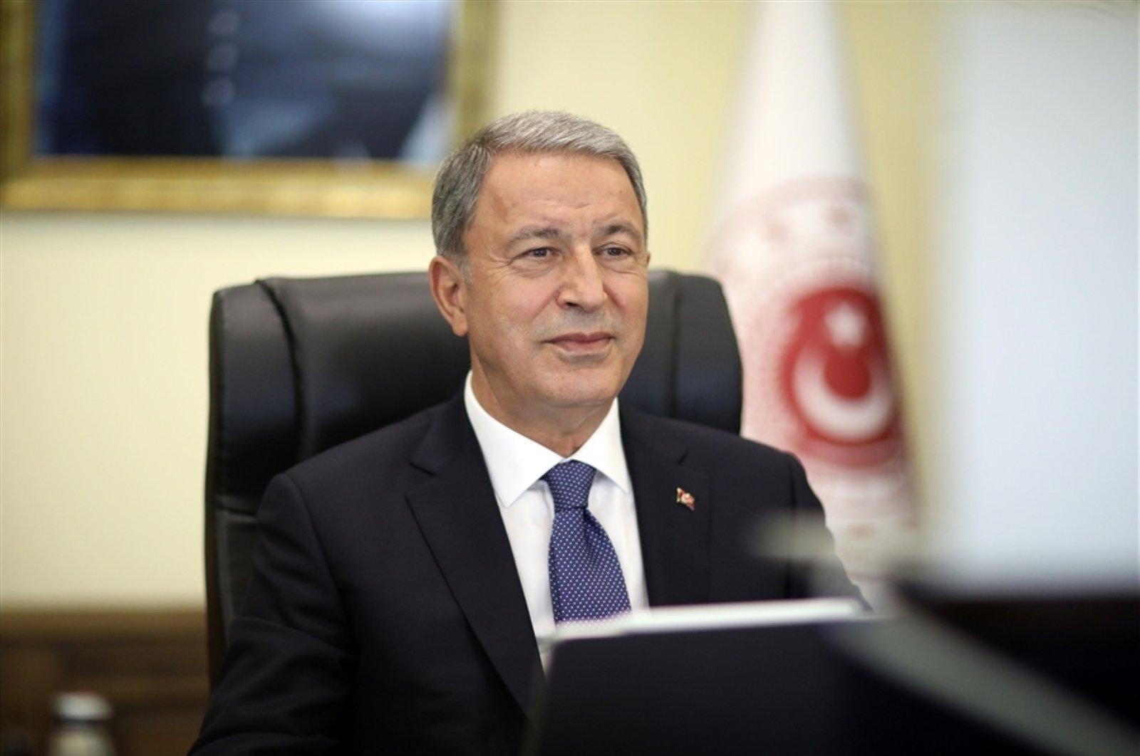 Defense Minister Hulusi Akar speaks at a panel organized by the Washington, D.C.-based Turkish Heritage Organization, July 29, 2020. (DHA)