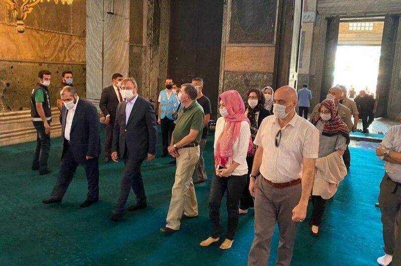U.S. Ambassador to Turkey, David Satterfield (C) visits the Hagia Sophia Grand Mosque, Istanbul, July 29, 2020.