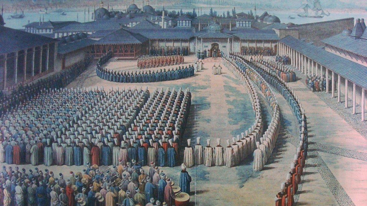 A painting shows a Bayram celebration at Topkapı Palace.