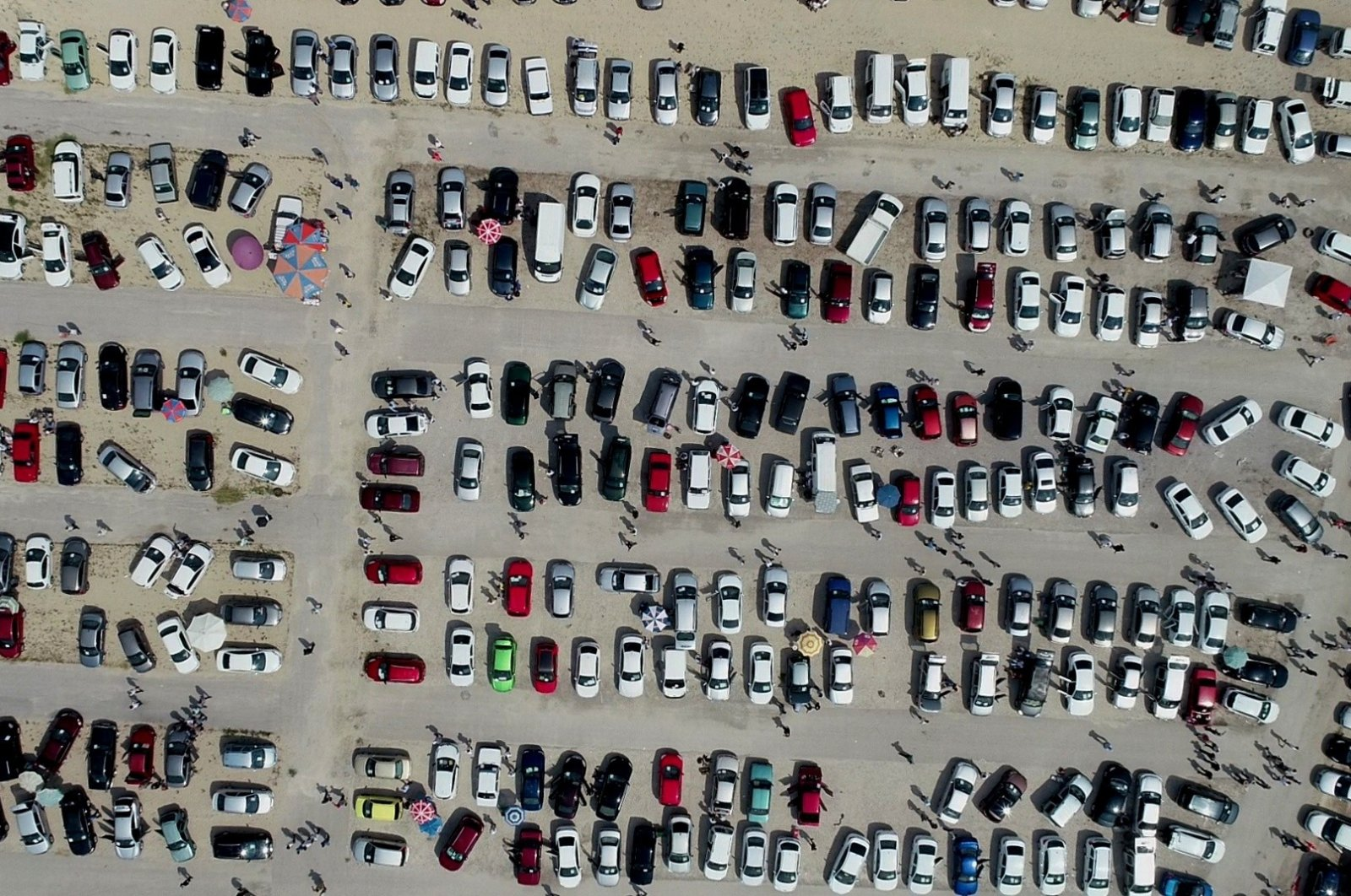 Used cars fill a used vehicle market in northwestern Bursa province, Turkey, July 26, 2020. (IHA Photo)