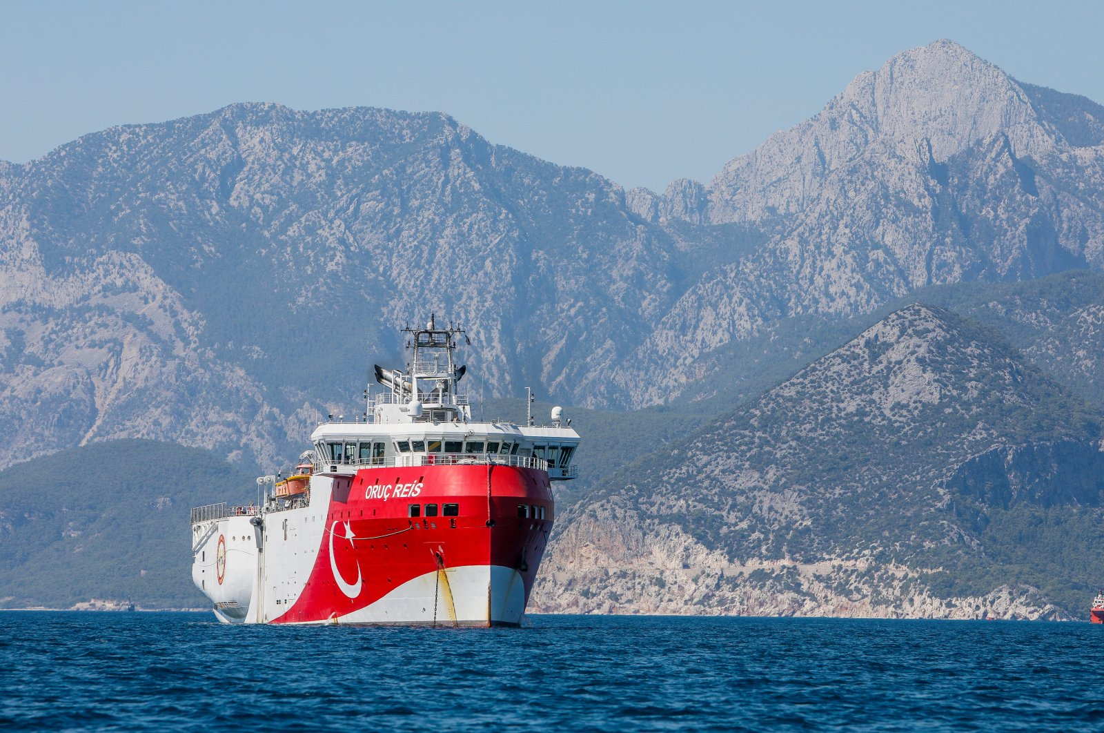 Turkey's seismic exploration vessel Oruç Reis is seen off the shore of Antalya, southern Turkey, July 23, 2020. (DHA Photo)