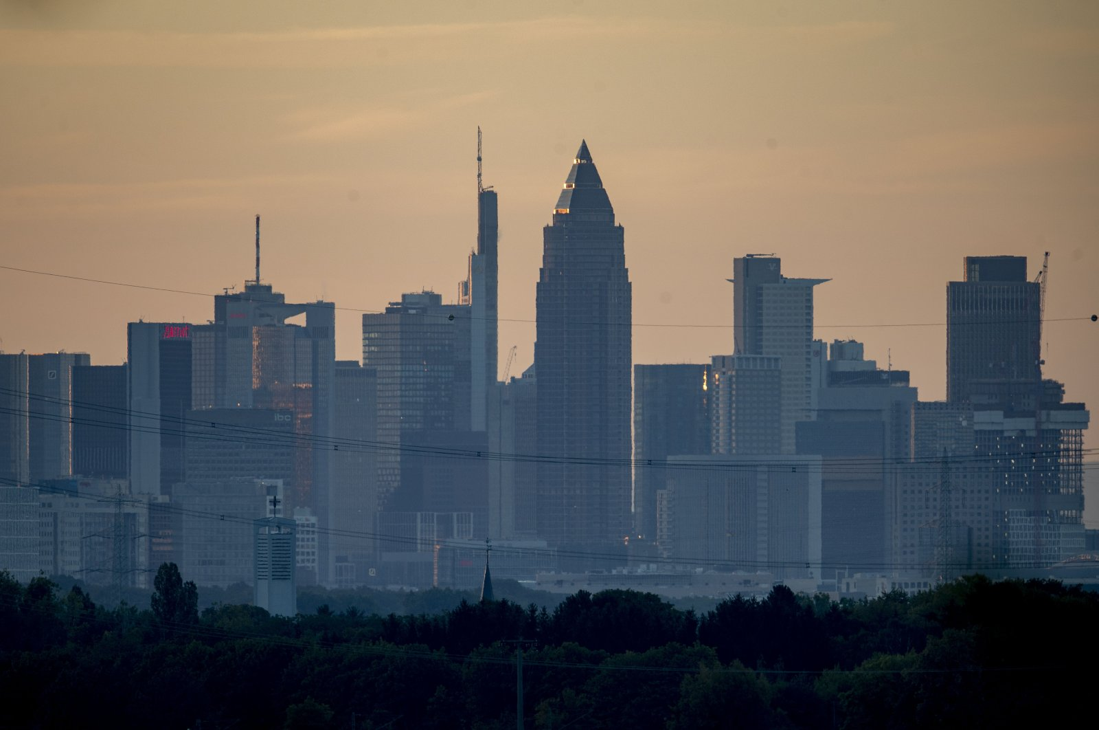 The buildings of the banking district are seen in Frankfurt, Germany, July 30, 2020. (AP Photo)