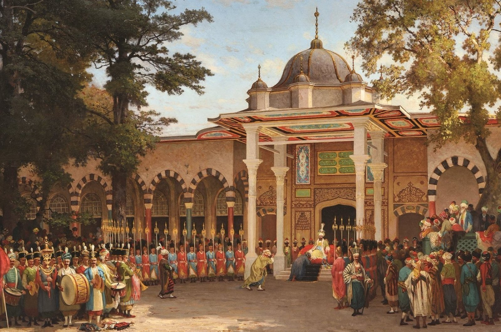 """Germain Fabius Brest depicts a reception held in front of the Gate of Felicity in the second courtyard of Topkapı Palace in his 1865 painting """"Bayram Greetings Reception."""""""