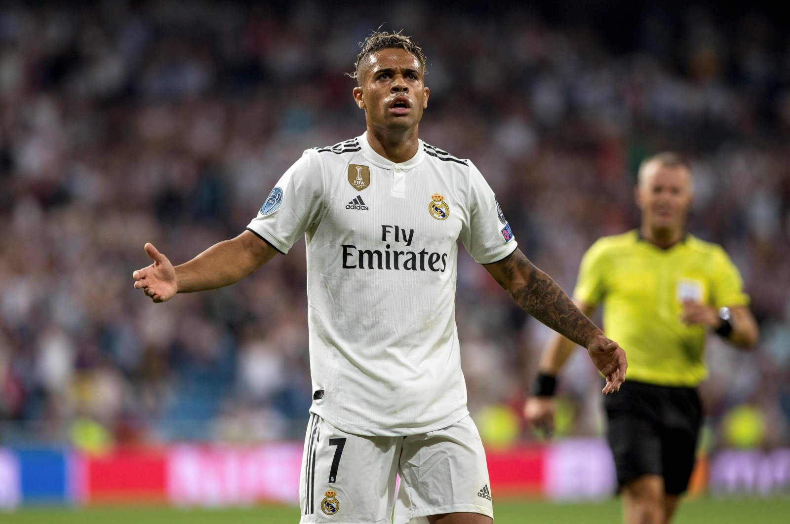 In this file photo, Real Madrid's Mariano Diaz celebrates a goal during the UEFA Champions League group stage match between Real Madrid and AS Roma at Santiago Bernabeu, in Madrid, Sept. 19, 2018. (EPA Photo)