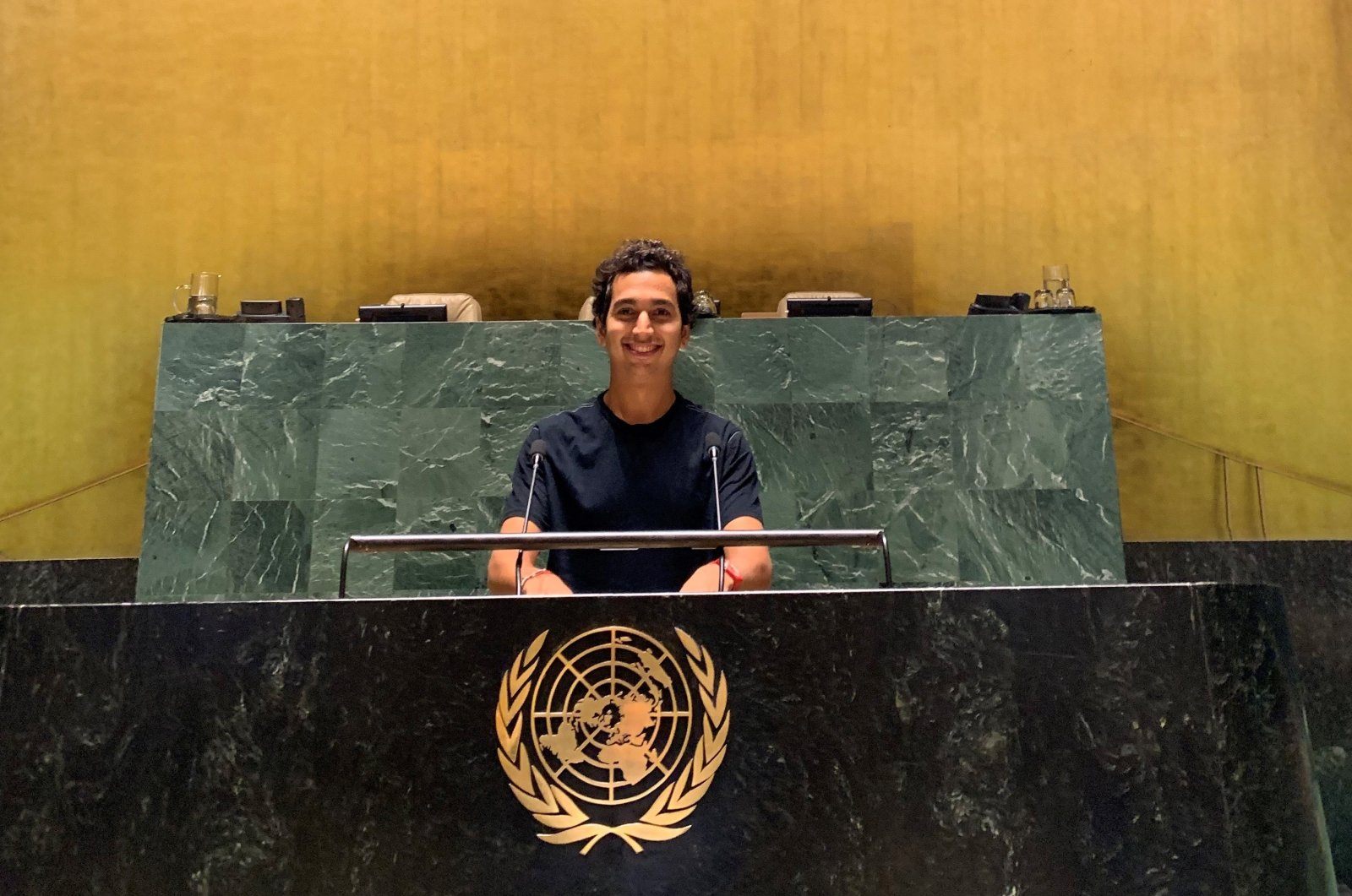 A photo of Can Remzi Ergen from their rehearsals in the United Nations' building in Geneva.