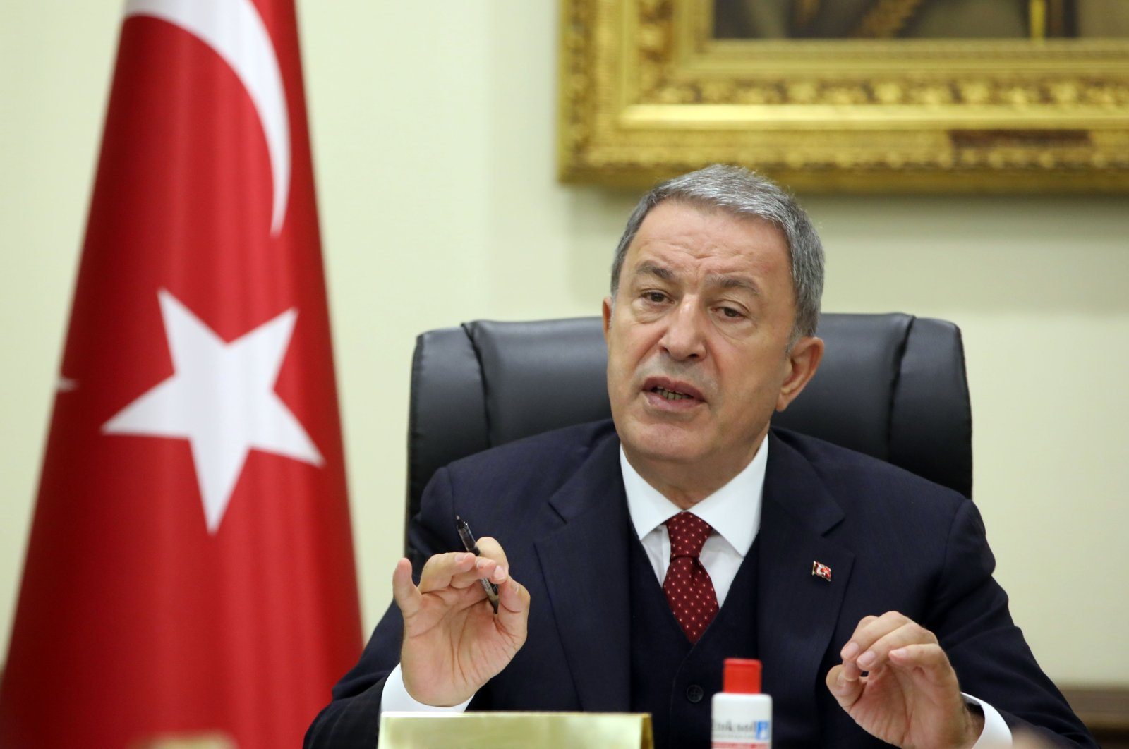 Defense Minister Hulusi Akar attends a videoconference meeting with Turkish military officials in Ankara, Turkey, May 29, 2020. (AA File Photo)