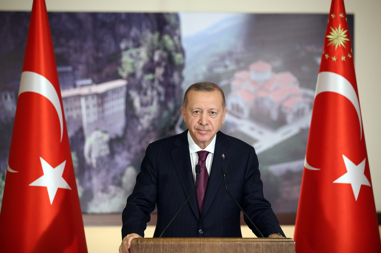 President Recep Tayyip Erdoğan speaks at the opening ceremony of the Sümela Monastery in Turkey's northern Trabzon province via teleconference from another location, July 29, 2020. (AA Photo)