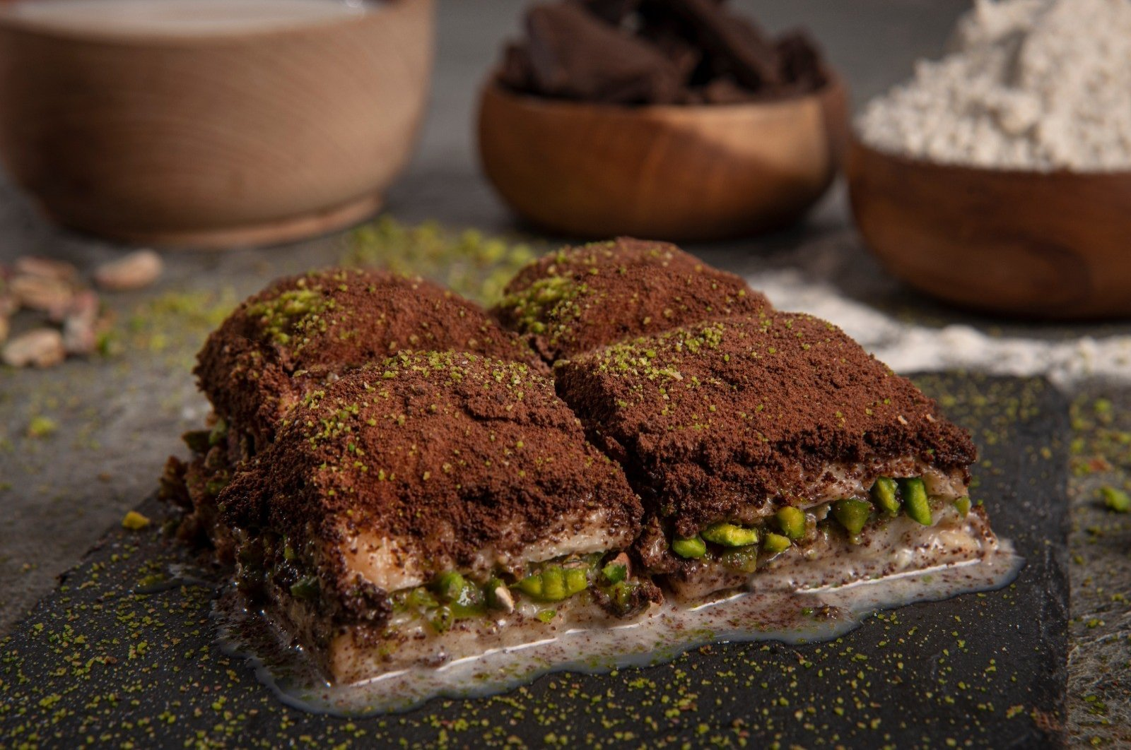 Cold baklava is among the desserts that have seen sales skyrocket on the eve of Qurban Bayram. (IHA Photo)