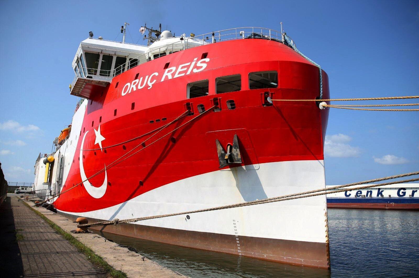 Turkish research vessel Oruc Reis in Antalya, southwestern Turkey, July 23, 2020. (AP Photo)