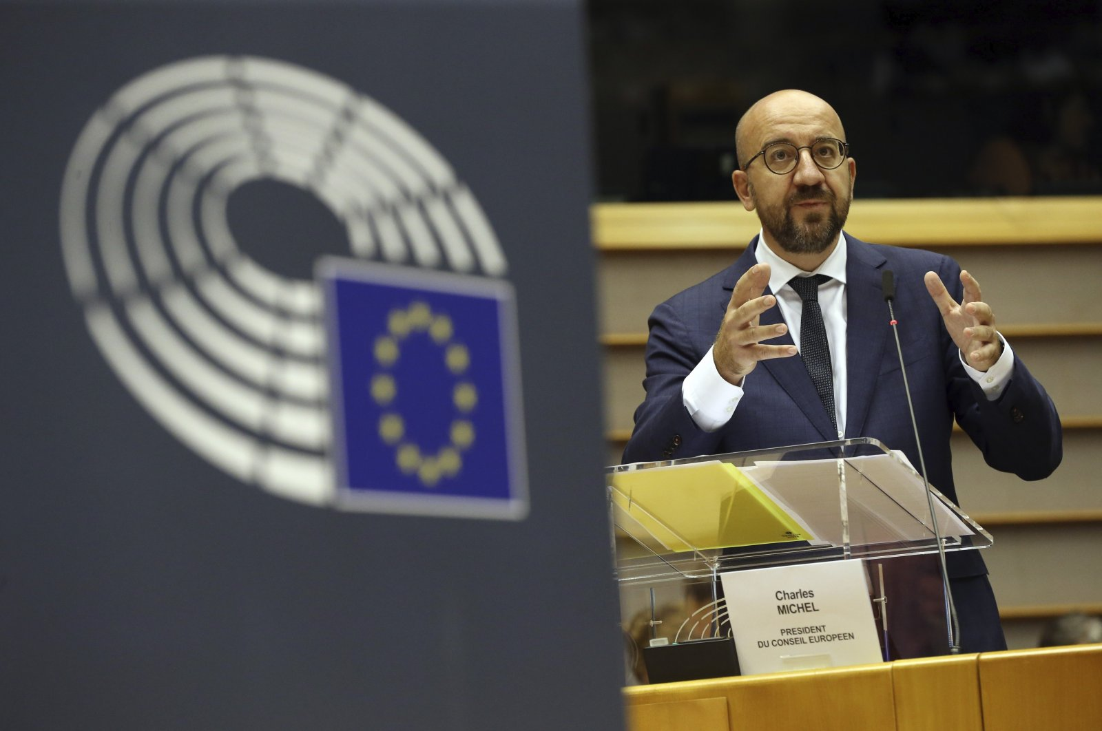 European Council President Charles Michel addresses European lawmakers at the European Parliament in Brussels, July 23, 2020. (AP Photo)