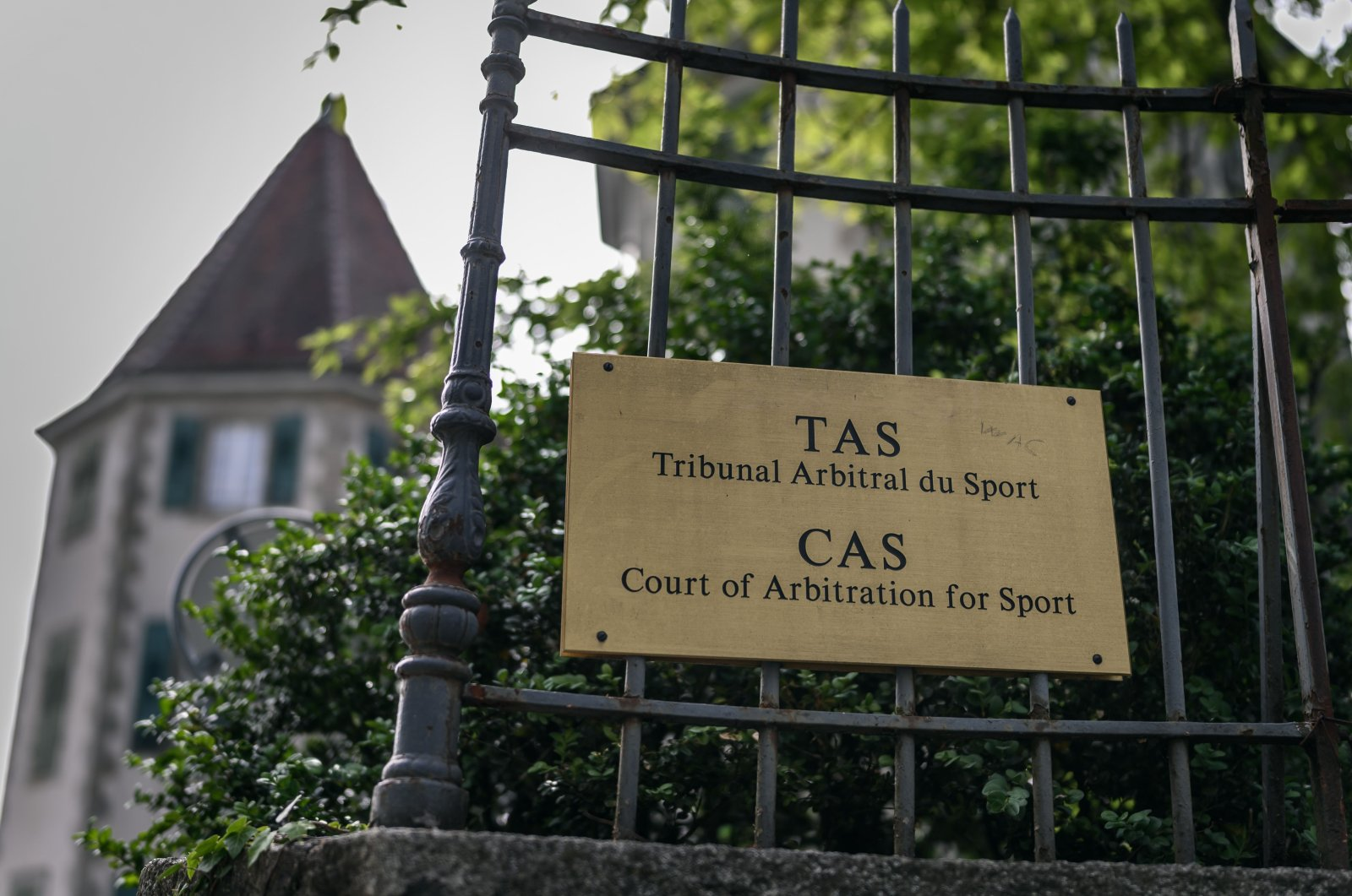 This picture taken on June 8, 2020, shows a sign at the entrance of the Court of Arbitration for Sport (CAS) in Lausanne, Switzerland. (AFP Photo)
