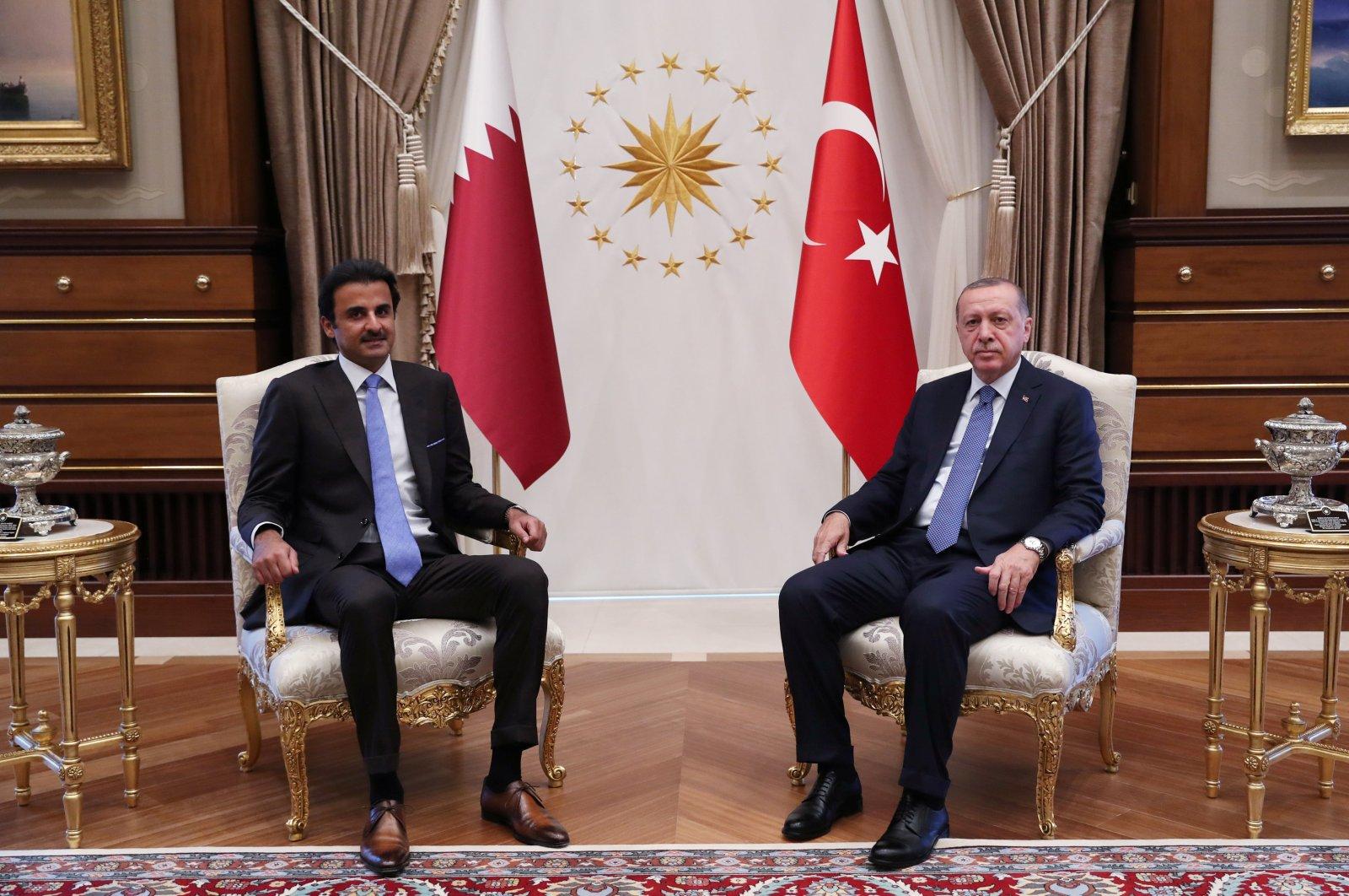 President Recep Tayyip Erdoğan and Qatari Emir Tamim bin Hamad Al Thani in Ankara, Turkey, Aug. 15, 2018. (Reuters Photo)