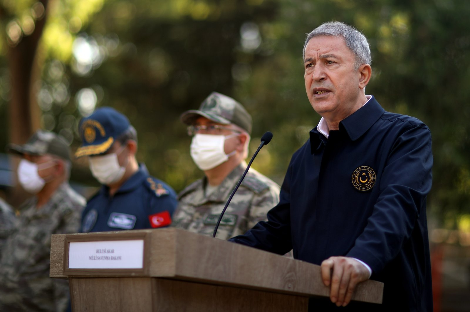 Turkish Defense Minister Hulusi Akar speaks at Edirne province bordering Greece, July 31, 2020. (AA Photo)