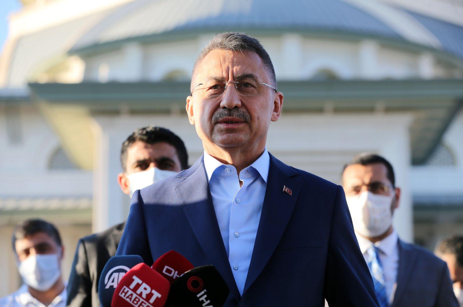 Vice President Fuat Oktay speaks in Beştepe, Ankara, July 31, 2020. (AA Photo)