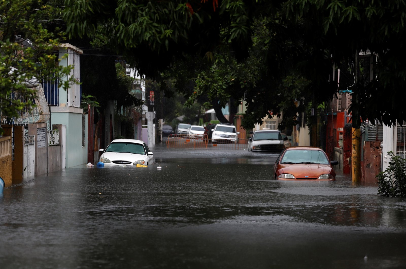 View of a flooded street in the aftermath of Hurricane Isaias, in San Juan, Puerto Rico, July 30, 2020. (EPA Photo)