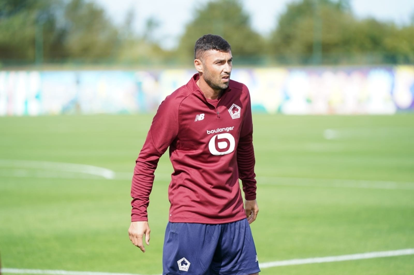 Turkish forward Burak Yılmaz trains with LOSC Lille after signing with the Ligue 1 club in Lille, France, Aug. 1, 2020. (DHA Photo)