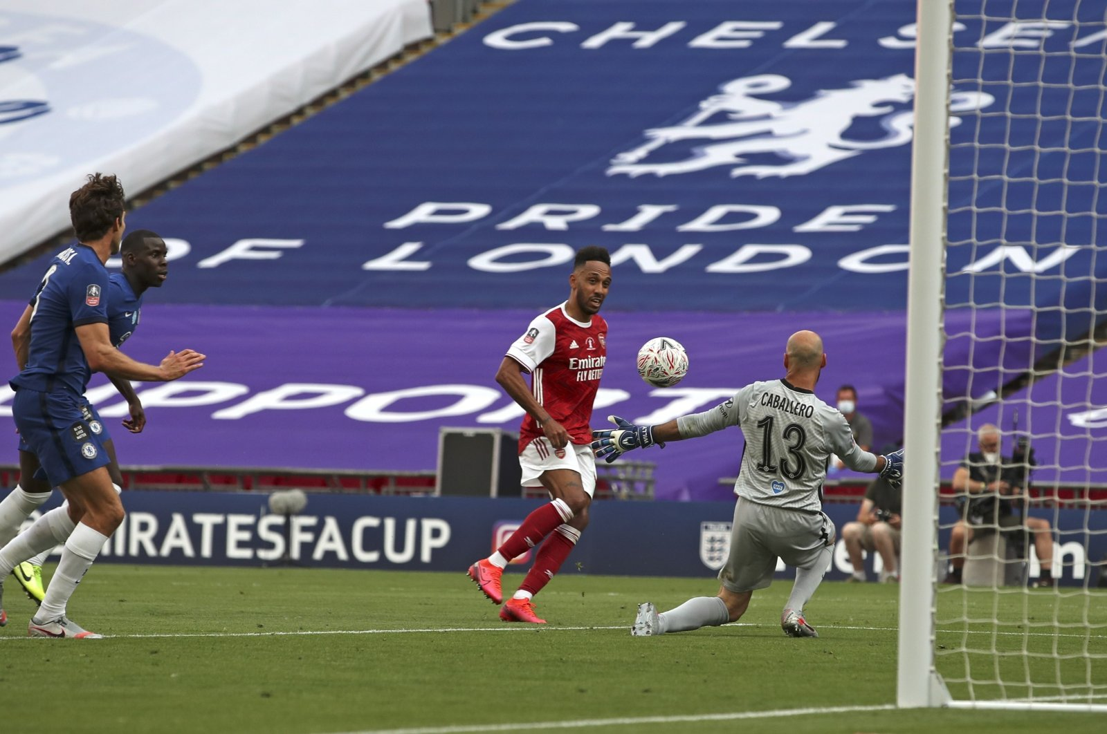 Arsenal's Pierre-Emerick Aubameyang scores his side's second goal during the FA Cup final soccer match between Arsenal and Chelsea at Wembley stadium in London, England, Saturday, Aug. 1, 2020. (AP Photo)