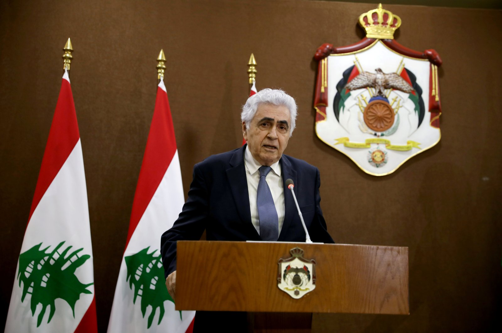 Lebanese Foreign Minister Nassif Hitti speaks at a news conference in Amman, Jordan, July 2, 2020. (Reuters Photo)