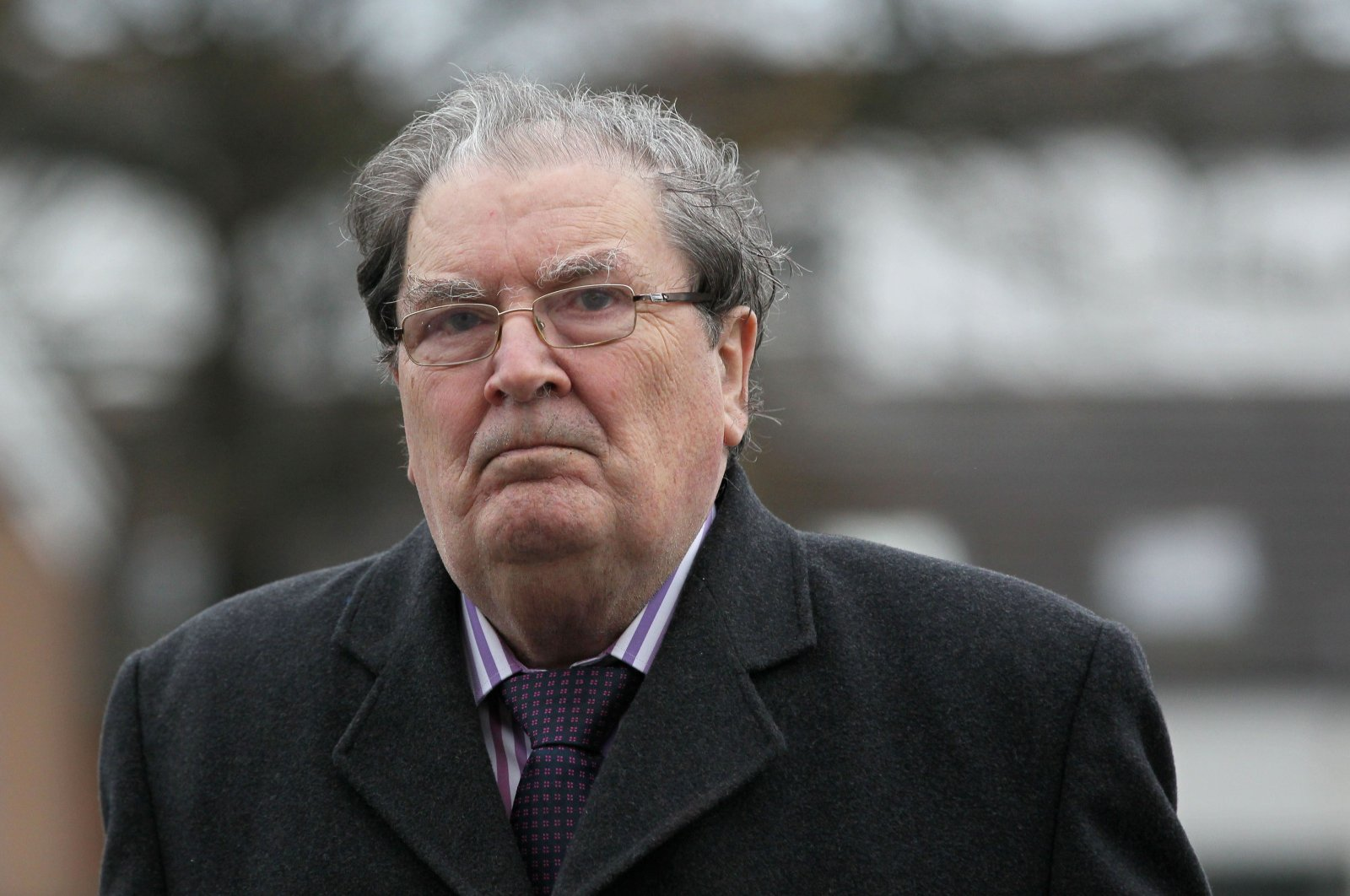 In this Nov. 27, 2013 file photo, former Northern Ireland politician and Joint 1998 Nobel Peace Prize Winner, John Hume, attends the funeral service for Irish priest Father Alec Reid at Clonard Monastery in Belfast, Northern Ireland. (AFP Photo)