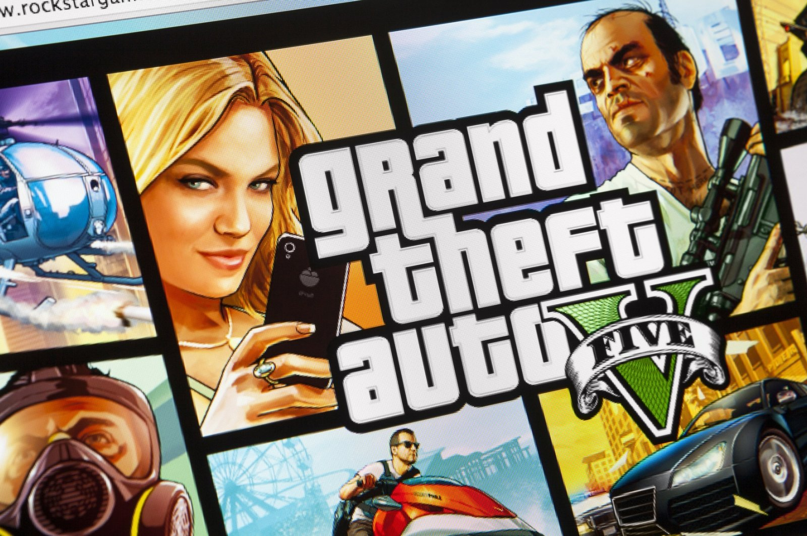 """A close-up on an iMac screen shows the launch announcement of """"Grand Theft Auto V"""" in Moscow, Russia, Sept. 23, 2013. (iStock Photo)"""