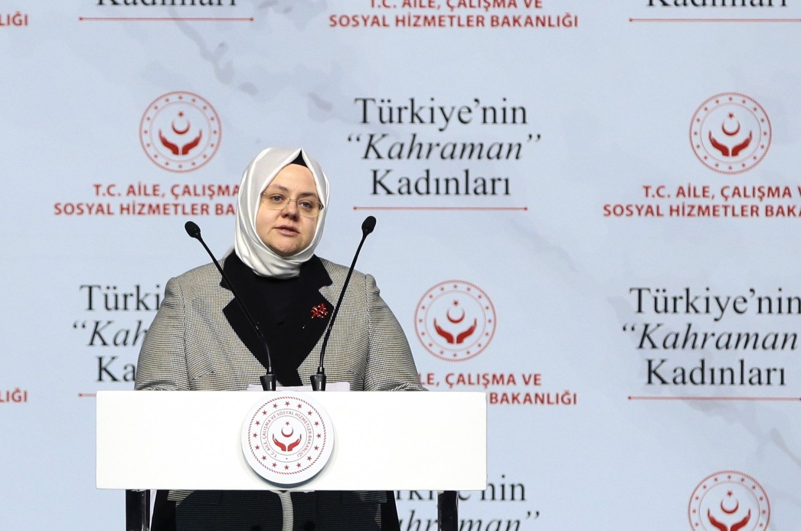 Minister of Family, Labor and Social Services Zehra Zümrüt Selçuk speaks at an event in Istanbul, Turkey, March 10, 2020. (AA Photo)