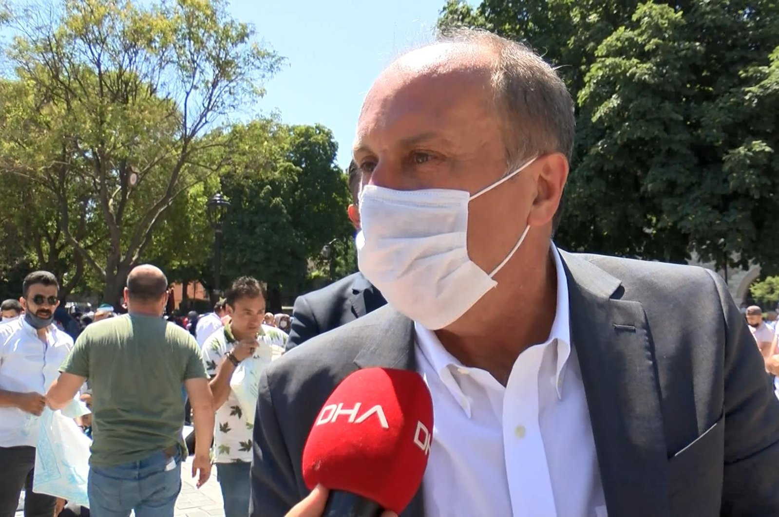 CHP's former deputy Ince speaks to reporters after a Friday prayer in the square near the Hagia Sophia Grand Mosque, Istanbul, July 24, 2020. (DHA Photo)
