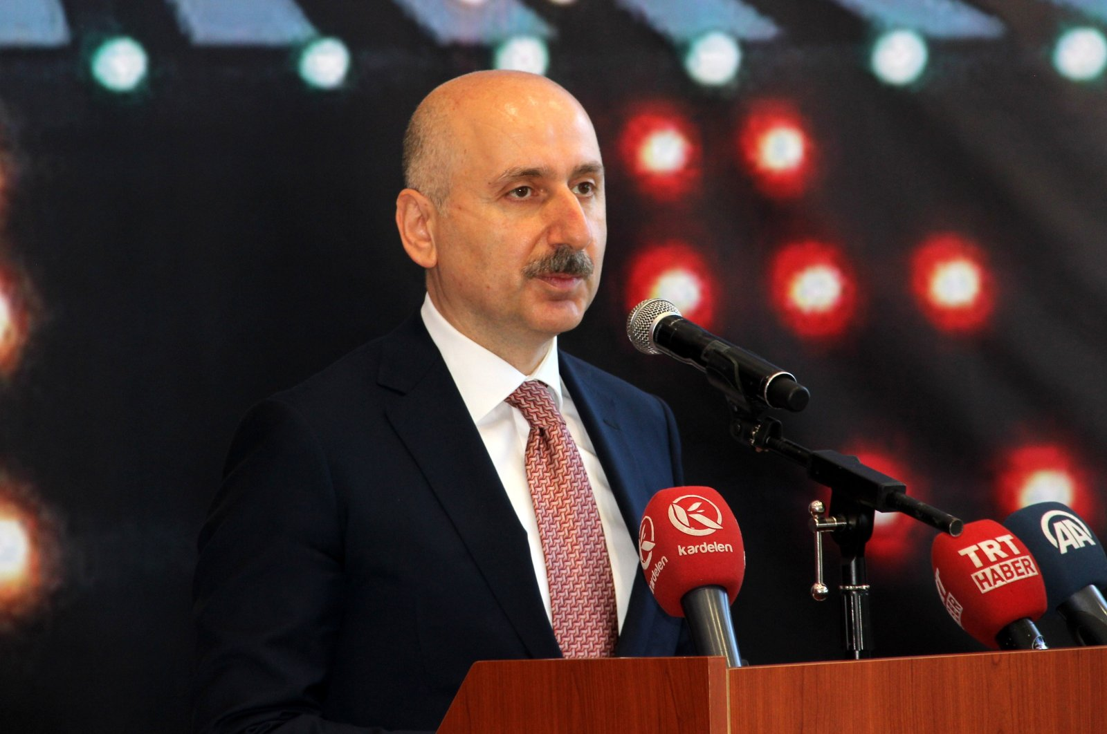 Transportation and Infrastructure Minister Adil Karaismailoğlu speaks during the opening ceremony for a new runway at Erzurum Airport in Turkey's eastern Erzurum province, July 30, 2020. (IHA Photo)