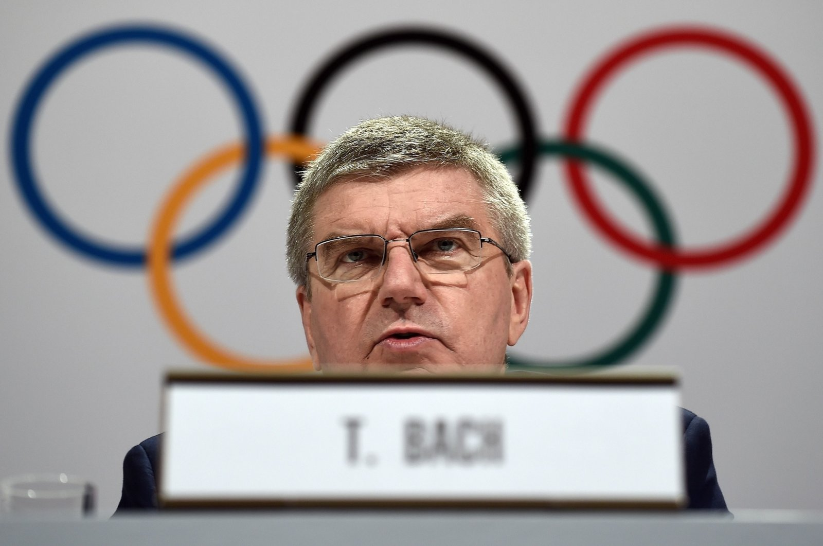 International Olympic Committee (IOC) President Thomas Bach gives his closing remarks during a press conference, Kuala Lumpur, Aug. 3, 2015. (AFP Photo)