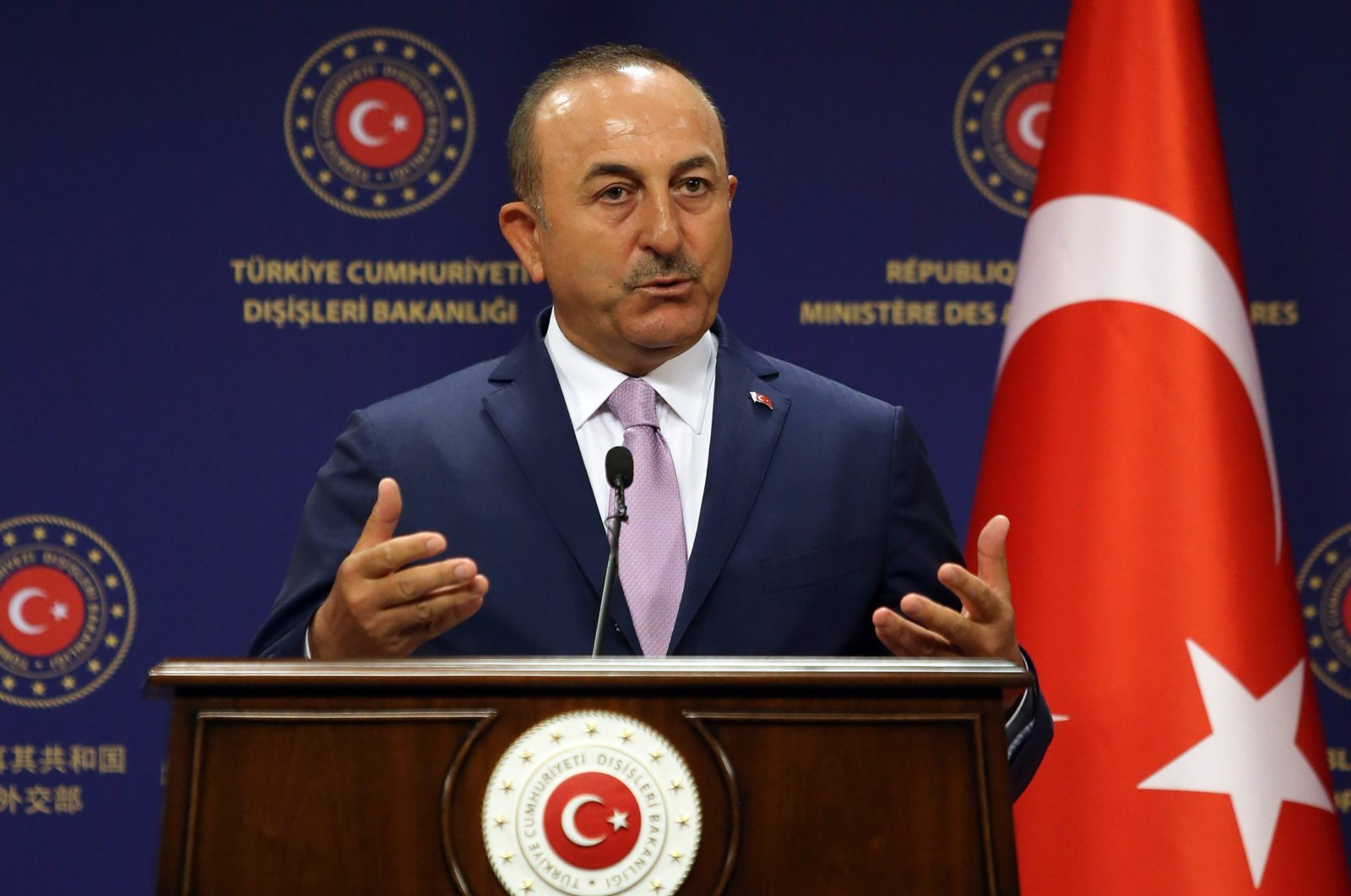 Turkish Foreign Affairs Minister Mevlüt Çavuşoğlu speaks during a joint press conference with his Spanish counterpart following their meeting at the Turkish Foreign Ministry in Ankara, Turkey, July 27, 2020. (AFP Photo)