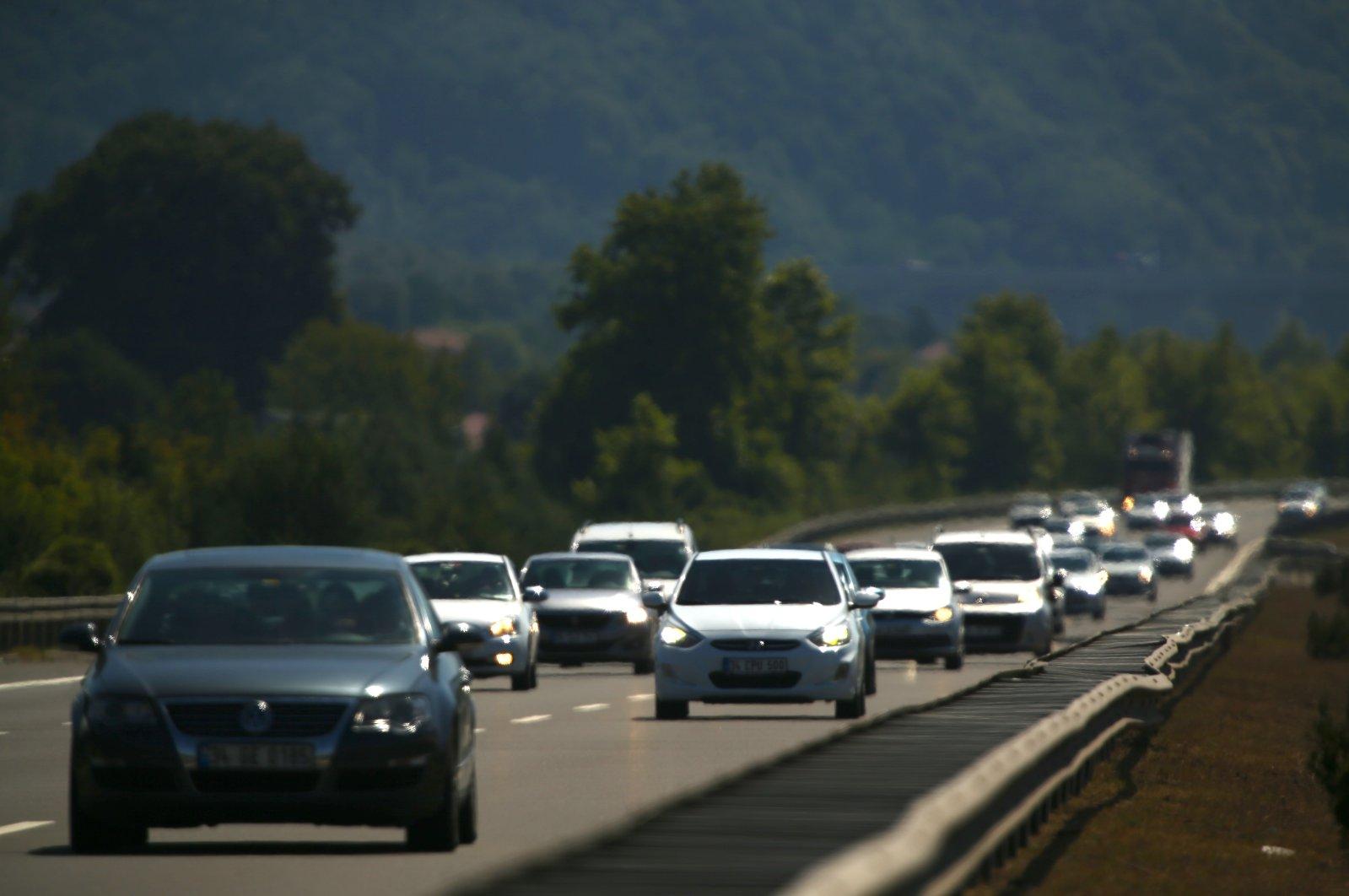 Cars are seen on the Düzce-Bolu section of the Anatolian Highway, northwestern Turkey, Aug. 3, 2020. (AA Photo)