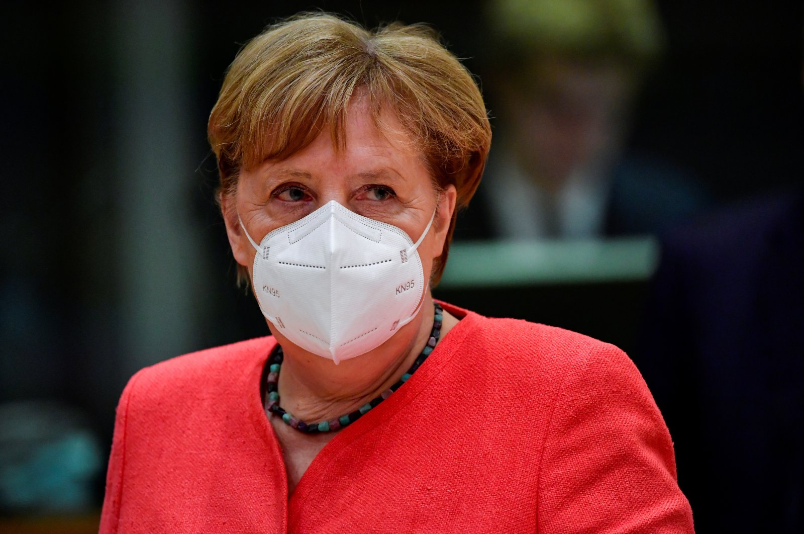 German Chancellor Angela Merkel looks on during the first face-to-face European Union summit since the coronavirus outbreak, in Brussels, Belgium, July 20, 2020. (Reuters Photo)