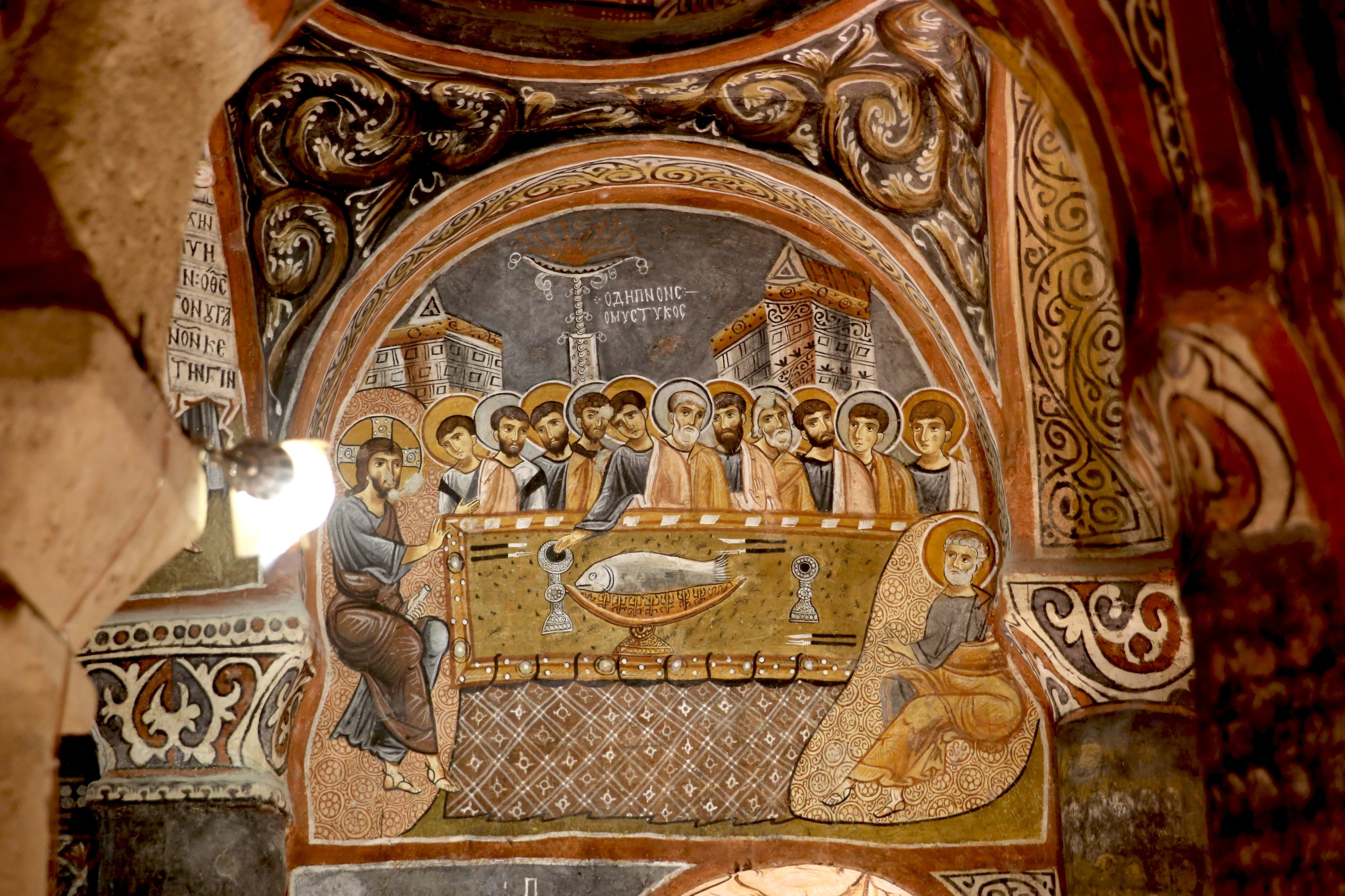 A fresco depicting the Last Supper at the church, Cappadocia, central Turkey, Aug. 3, 2020. (AA PHOTO)