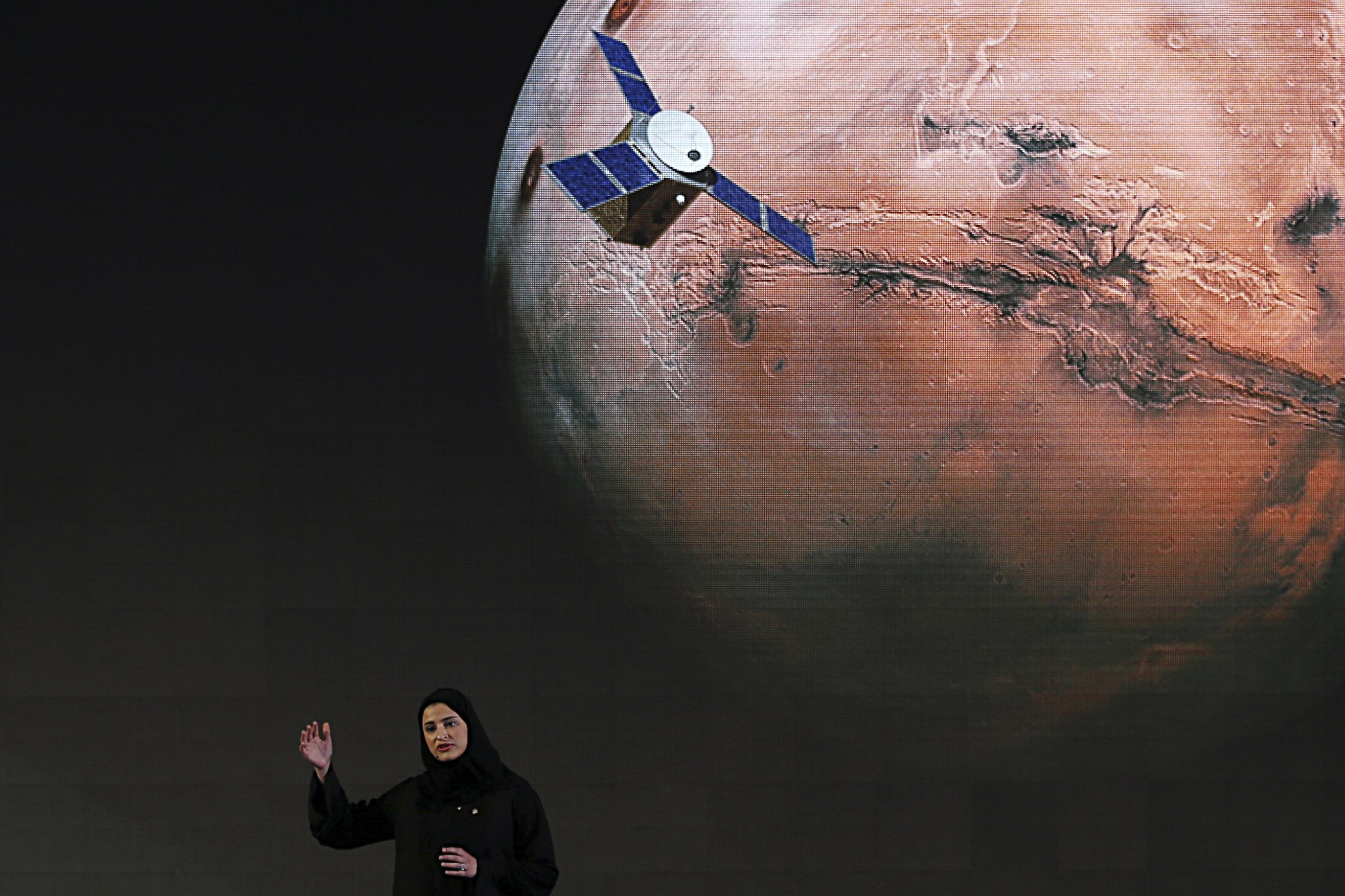 In this Wednesday, May 6, 2015 file photo, Sarah Amiri, deputy project manager of the United Arab Emirates Mars mission, talks about the project named