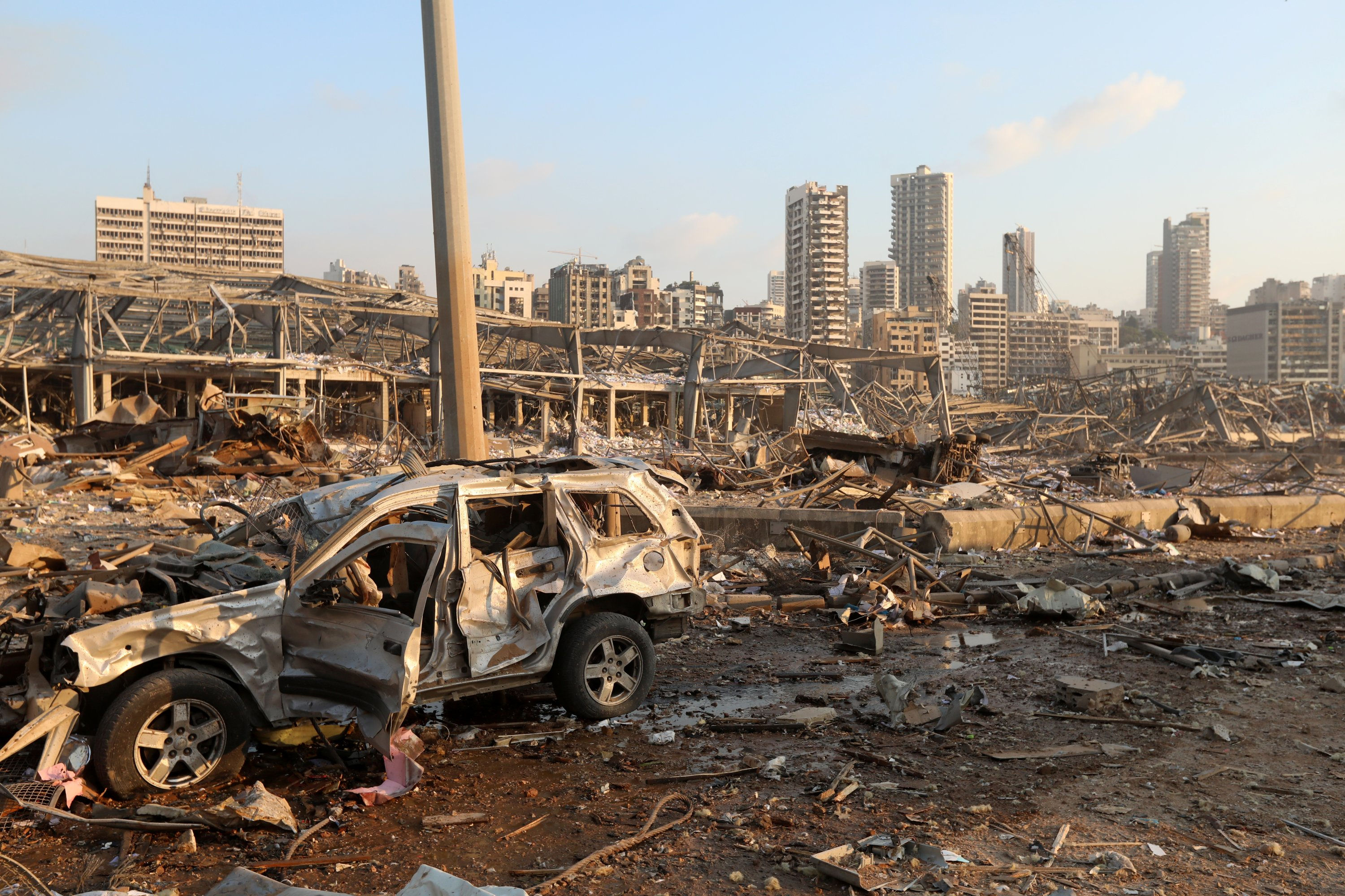 A damaged vehicle is seen at the site of an explosion in Beirut, Lebanon August 4, 2020. (Reuters Photo)