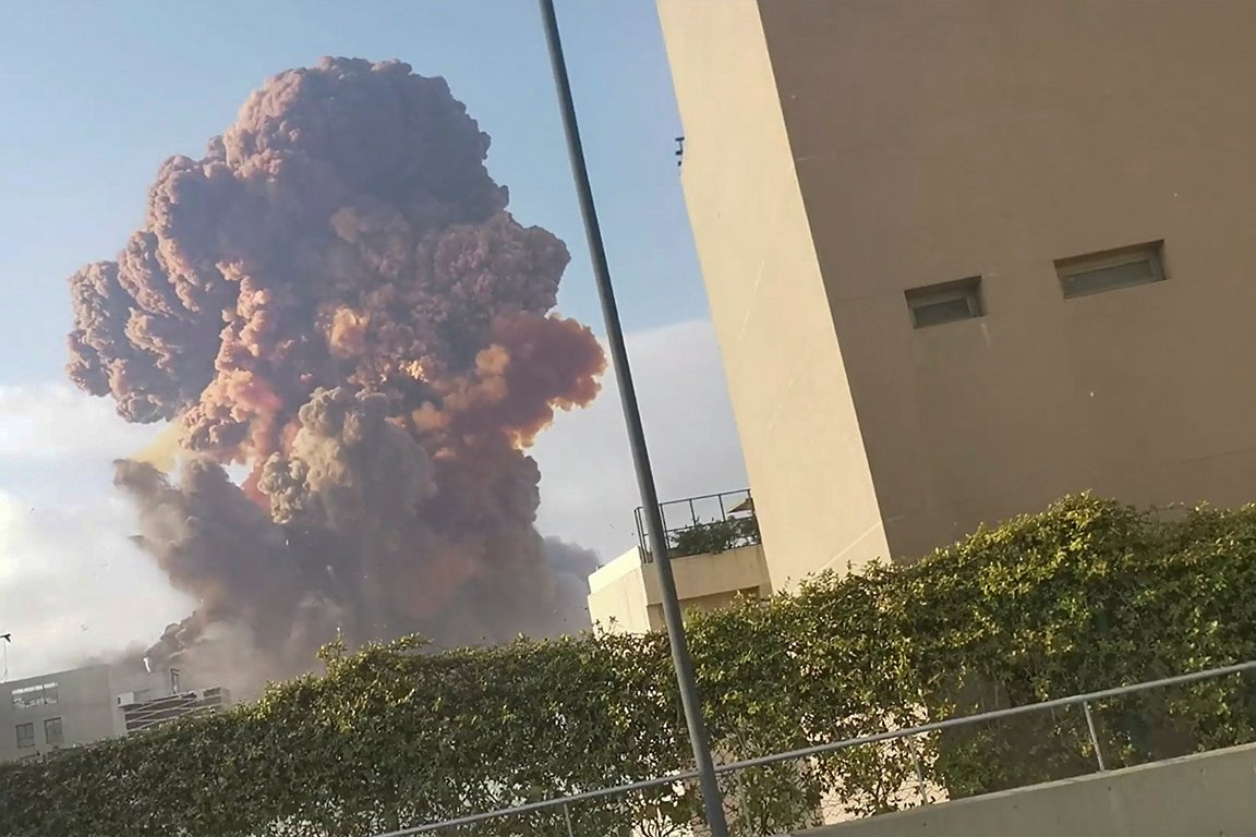 Smoke rises after an explosion in Beirut, Lebanon August 4, 2020, in this picture obtained from a social media video. (Reuters Photo)