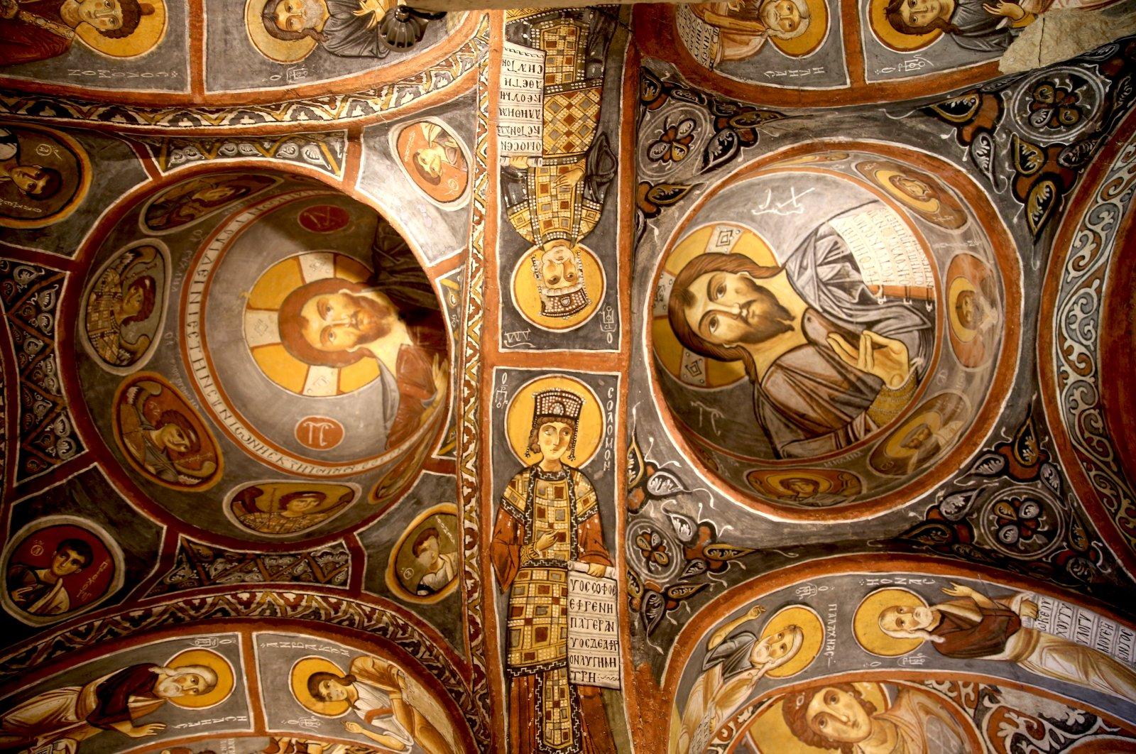 Frescoes depicting Jesus at the church, Cappadocia, central Turkey, Aug. 3, 2020. (AA PHOTO)
