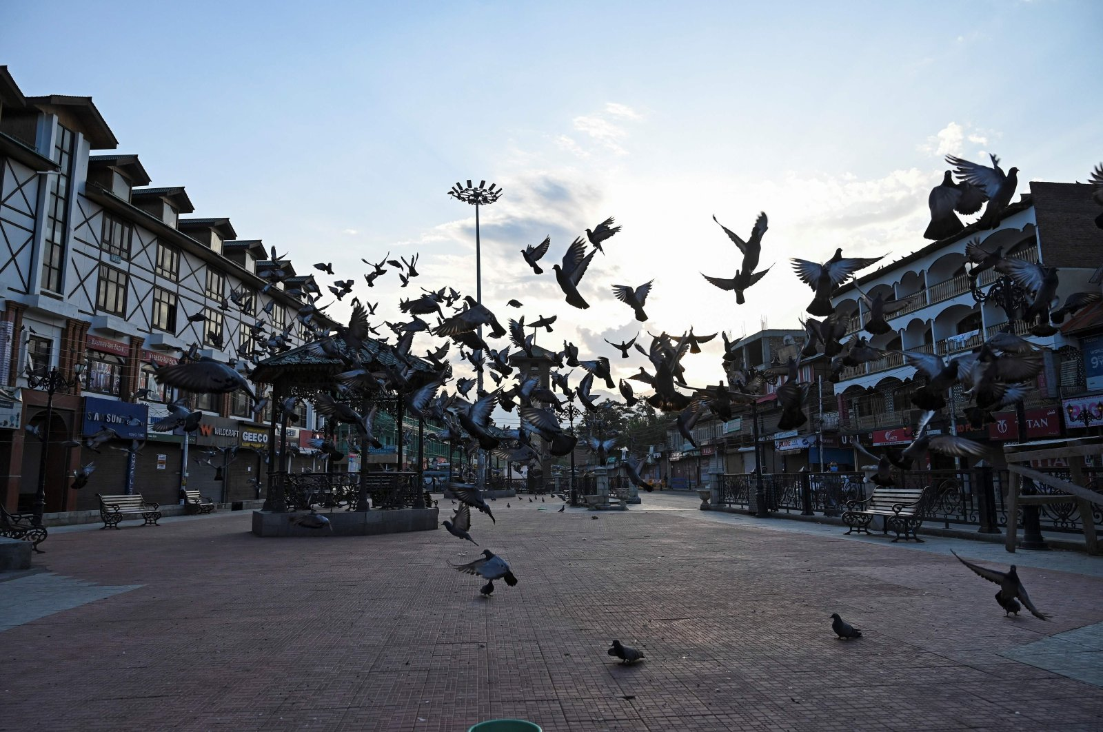 A flock of pigeons fly at a square during a lockdown in Srinagar, Indian-occupied Jammu and Kashmir, Aug. 4, 2020. (AFP Photo)
