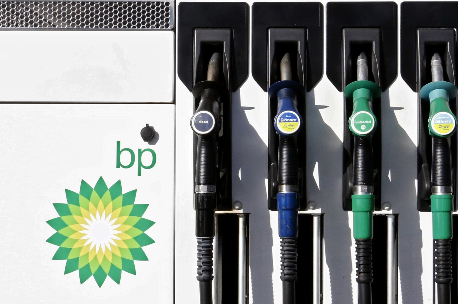 A car fuel pump at a BP petrol station in London, England on Aug. 1, 2017. (AP Photo)