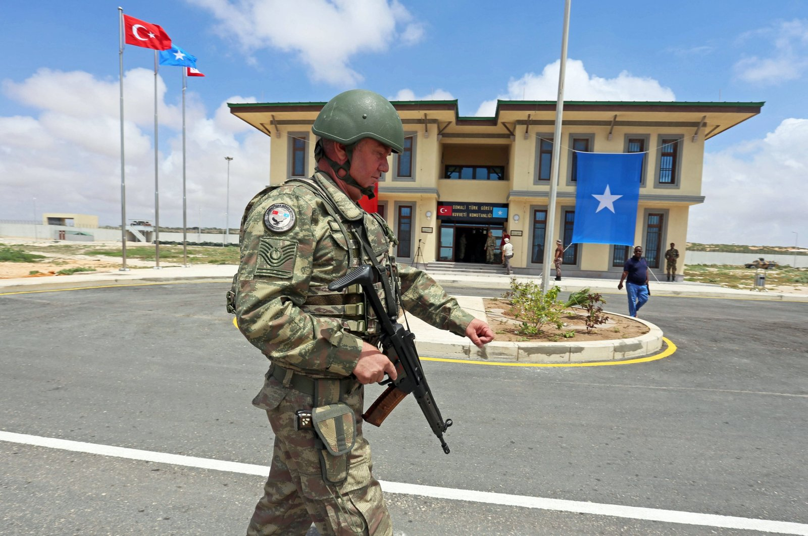A Turkish soldier is seen on patrol at Camp TURKSOM military training base in Somalia's capital Mogadishu in this undated photo. (AA Photo)