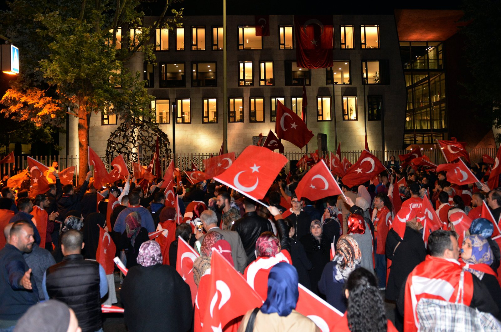 People protest FETÖ's 2016 coup attempt in Turkey, during a rally in Berlin, Germany on July 15, 2017. (AA Photo)