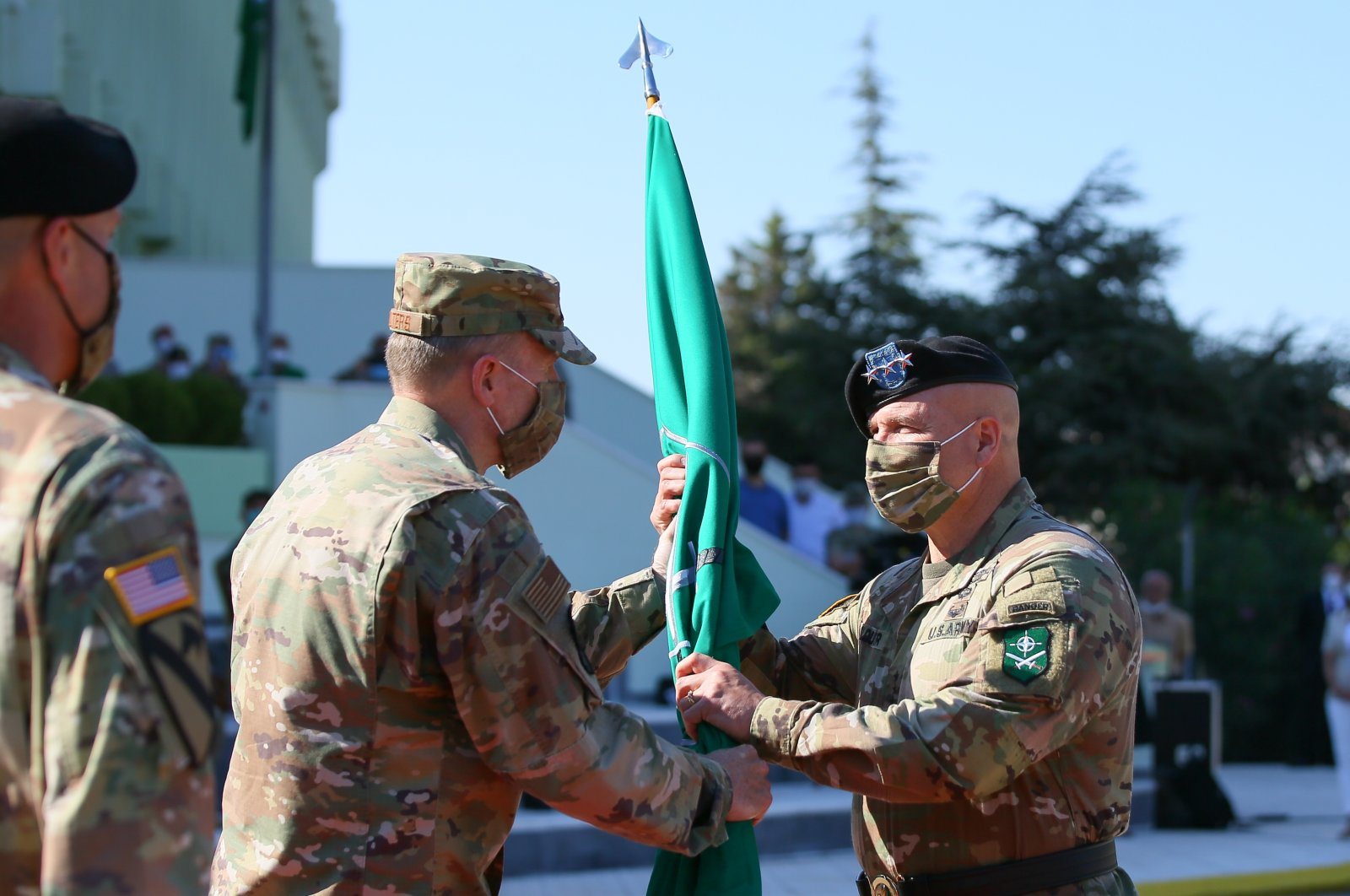 Lt. Gen. Roger L. Cloutier (R) on Tuesday assumed command of the NATO Allied Land Command from Lt. Gen. John T. Thomson (L) at a ceremony held in southwestern Turkey's Izmir, Aug. 4, 2020 (AA Photo)