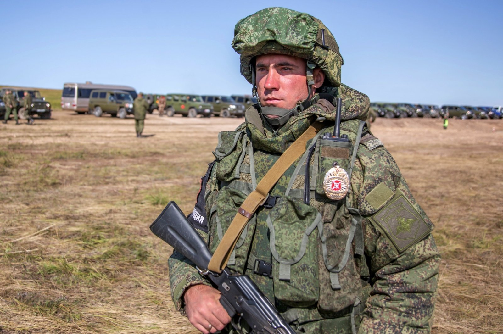 A Russian soldier guards an area during the military exercises in the Chita region, Eastern Siberia, during the Vostok 2018 exercises in Russia, Sept. 11, 2018. (AP)