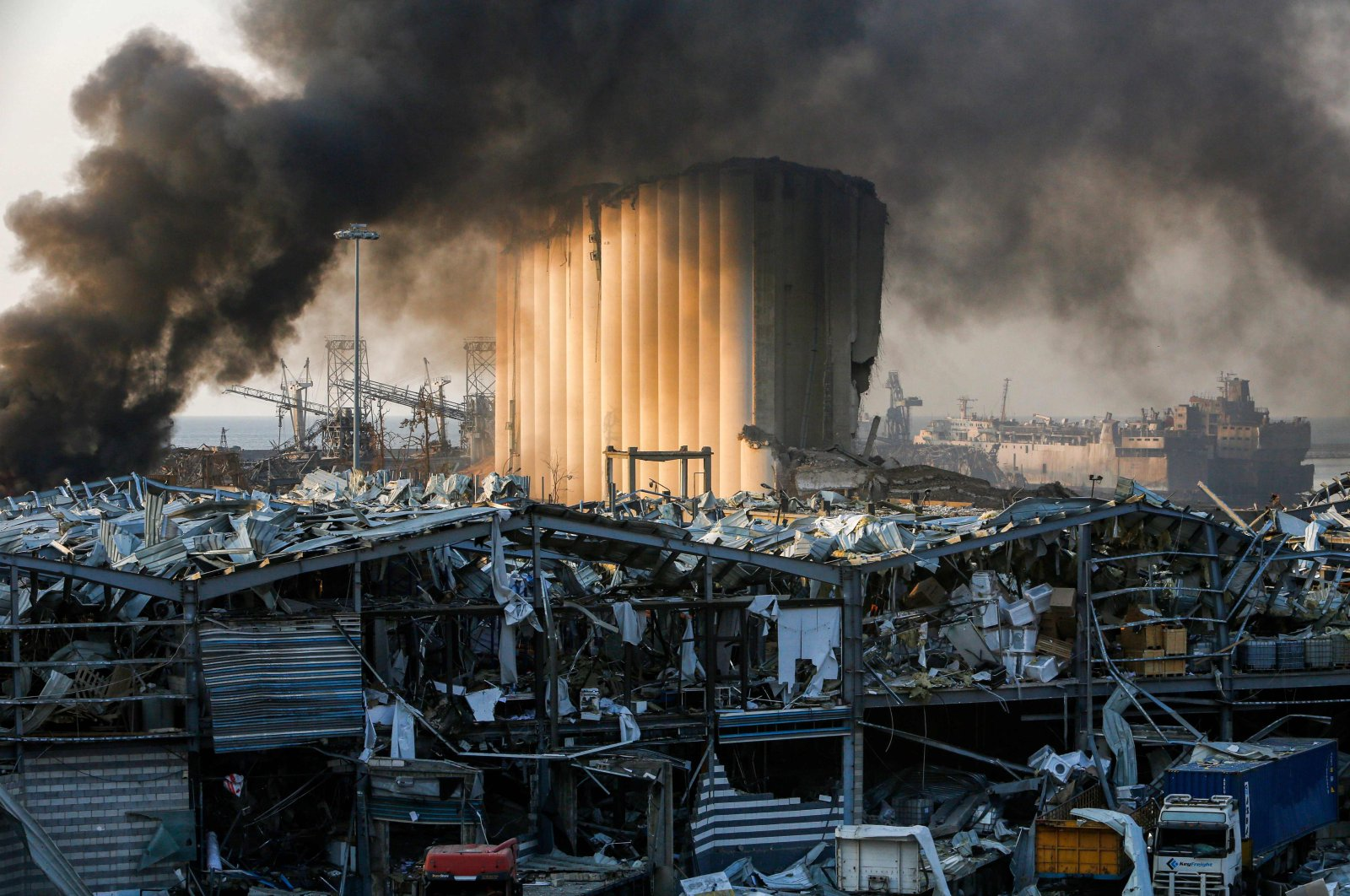 A destroyed silo at the scene of the explosion that rocked the Lebanese capital Beirut on Aug. 4, 2020. (AFP Photo)