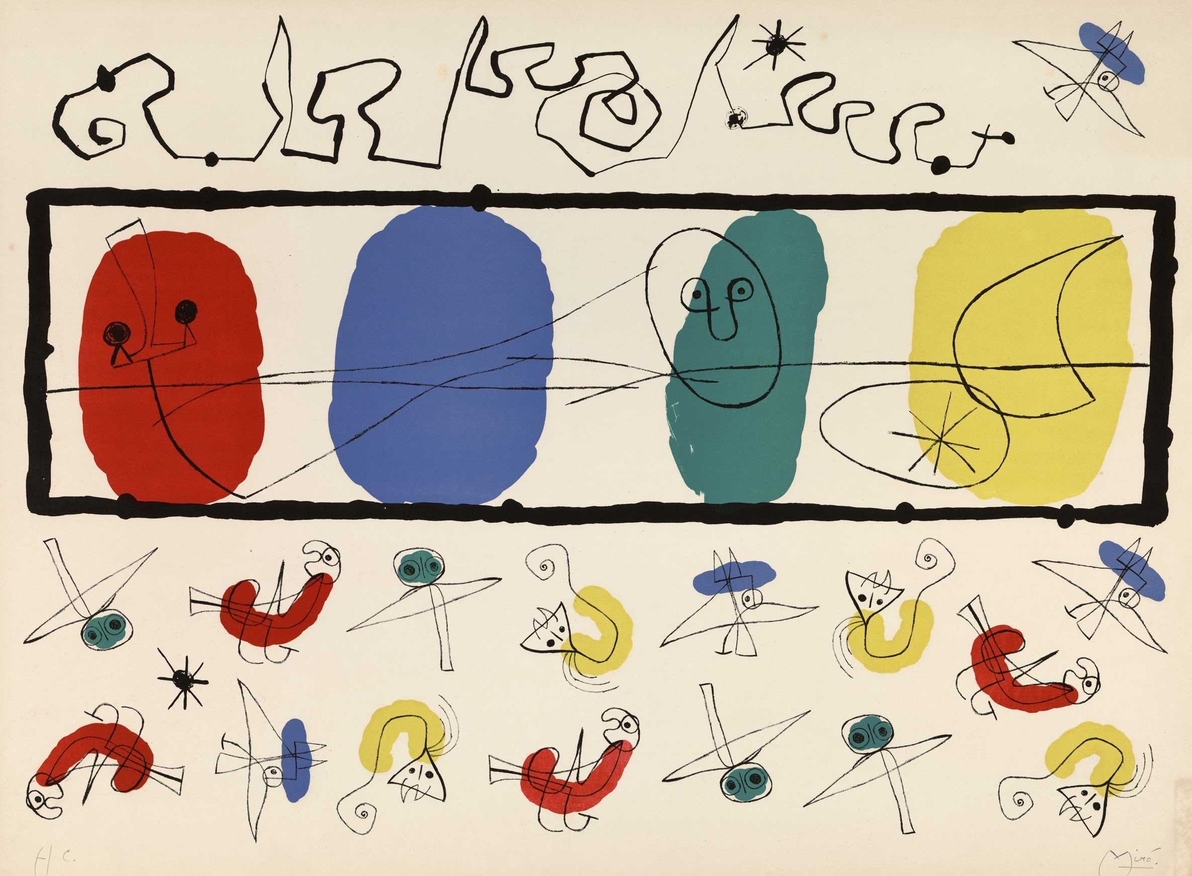 Joan Miro, 'Birds,' 1956, Lithograph, 52.2 by 72.3 centimeters. (Courtesy of SSM)